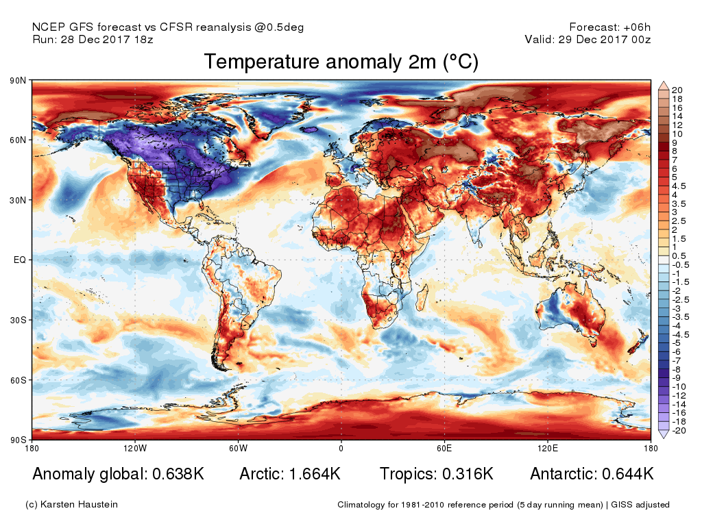 Current global temperature anomaly map courtesy of Karsten Haustein, www.karstenhaustein.com/climate.