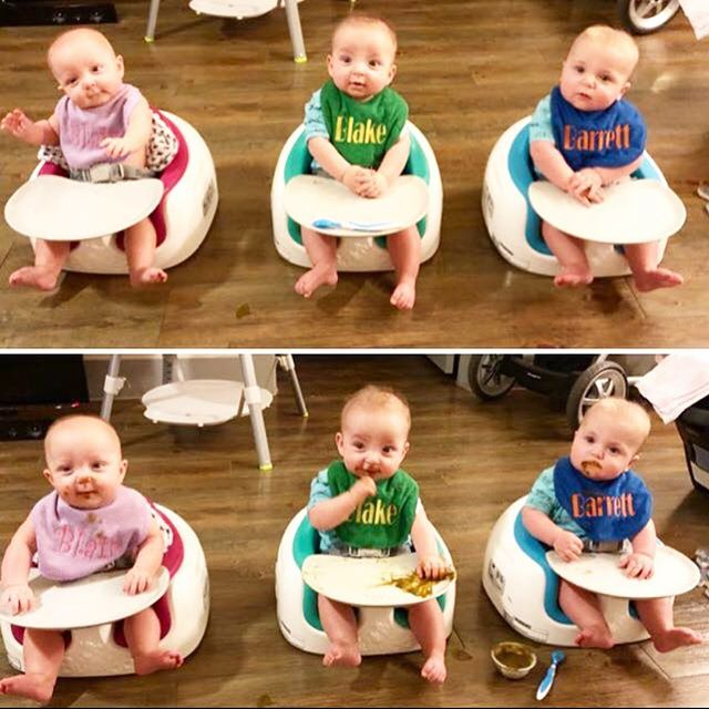 """1 year AGO!! Now they arm wrestle 💪🏼, kiss 😘, and steal food from one another 🤷🏼♀️! 👶🏼👶🏼👶🏼 They love food 🍽, morning table devos 📖, mama's dinner theater productions 🎭, and saying """"Mine Mama"""" """"My Dada"""" while also speaking their own special triplet language! Meals are fun, busy, and super memorable around here! 😂😂😂 #blairbarrettblake #thesadlertriplets #thesadlerdiaries"""