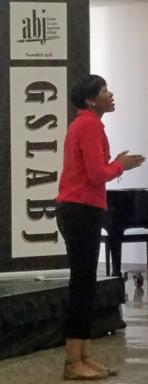 Cara Anthony at 2018 GSLABJ Student Journalism Workshop.