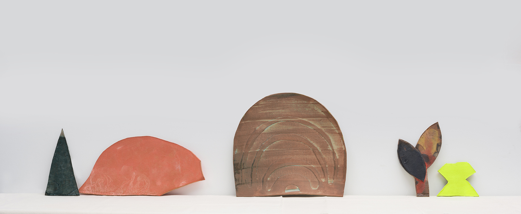 this&that: conversation , 2016 glaze, stain and spray-paint on ceramic, canvas wrapped wood shelf sizes variable