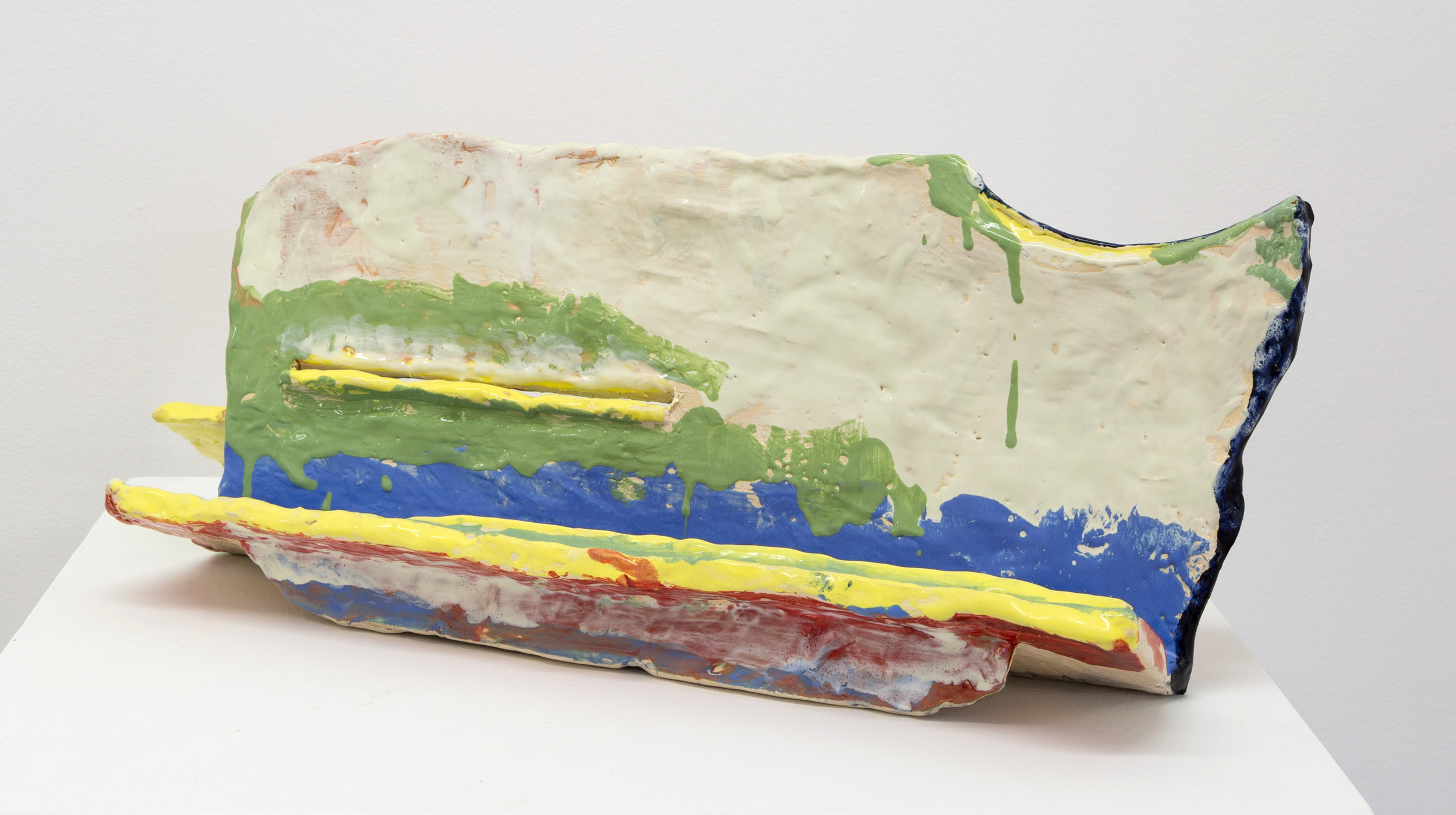 Untitled (4 yellow lines) , 2015 clay and glaze 7 x 21 x 8 in