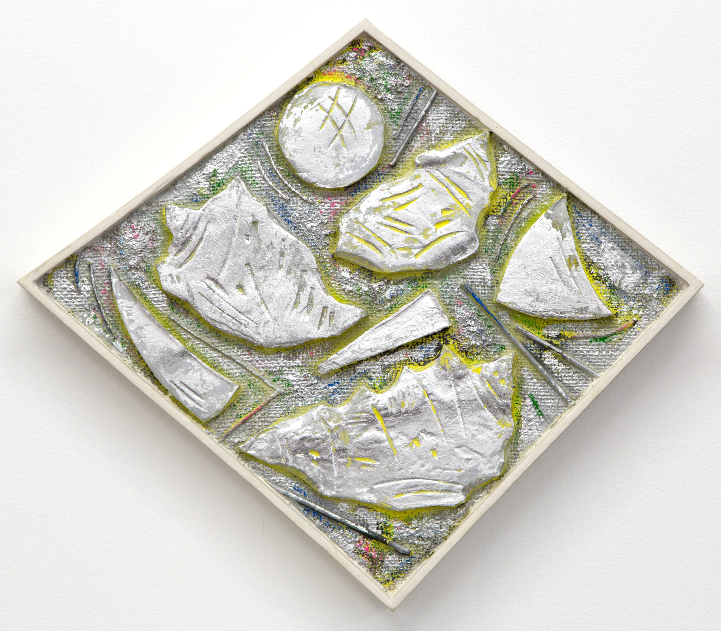 S.S.S.S. (silver, seashells, shards, shapes)  , 2016   silver leaf, enamel, acrylic, sand, bamboo,   string, burlap and plaster on wood panel   16 x 19 in