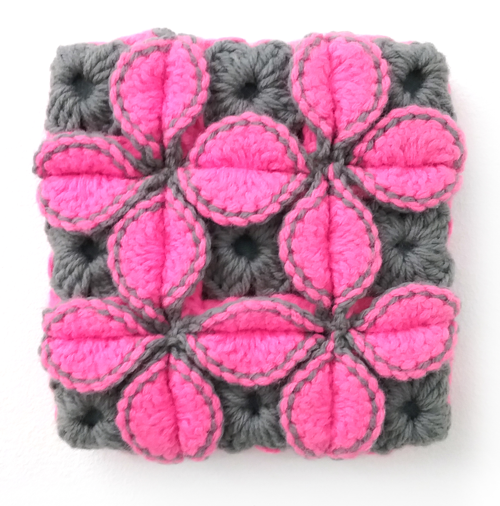 You've Been Applying False Lashes Wrong Your Whole Entire Life , 2010 yarn, thread, wood, and canvas 7 x 7 in