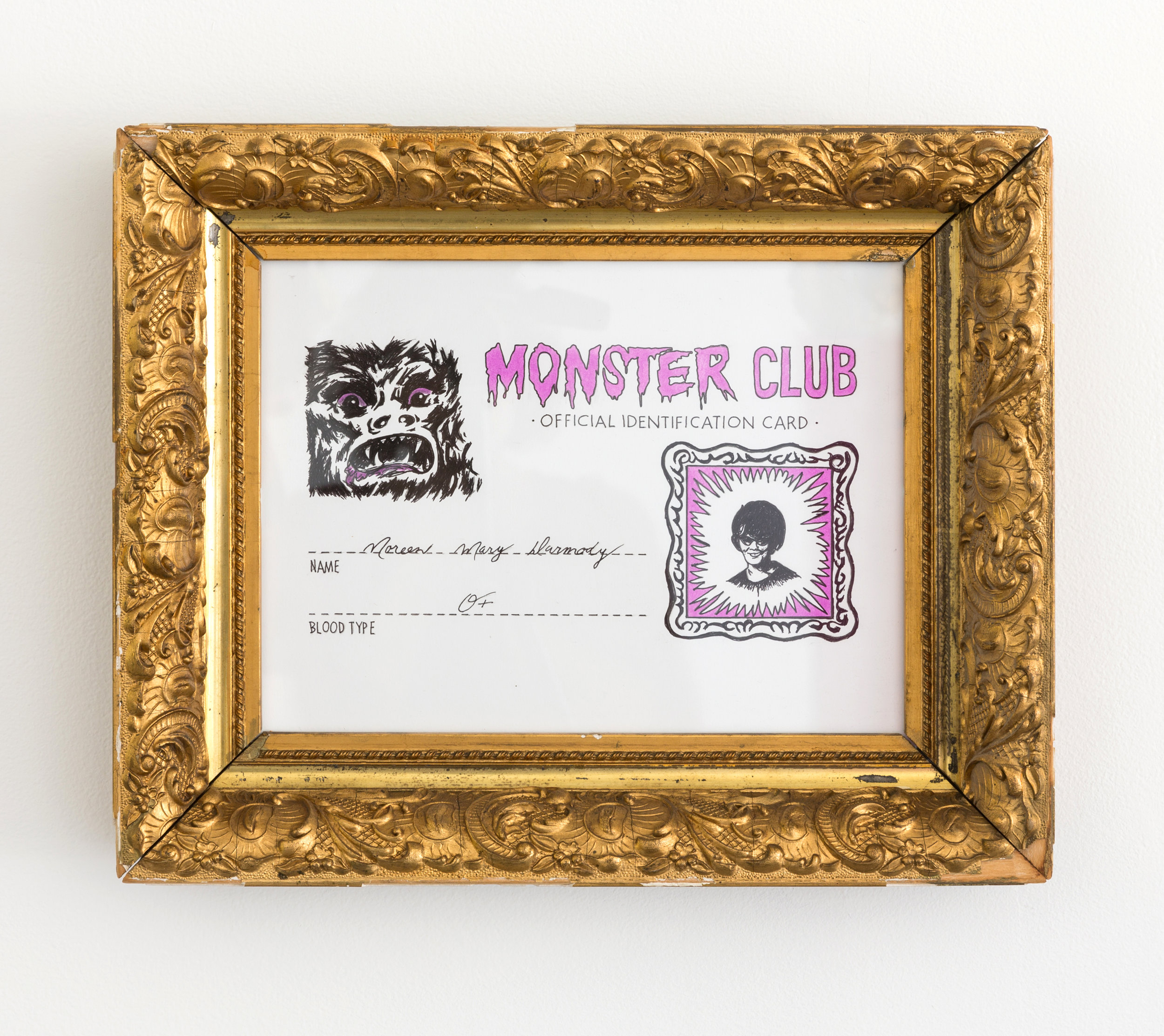 Monster Club , 2019 mixed media on paper, framed 10 x 13 in