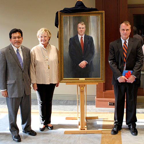 Pictured: Ann Cowden, Founding Dean Jeffrey S. Kinsler and Alberto Gonzales, current Dean and former Secretary General of the United States