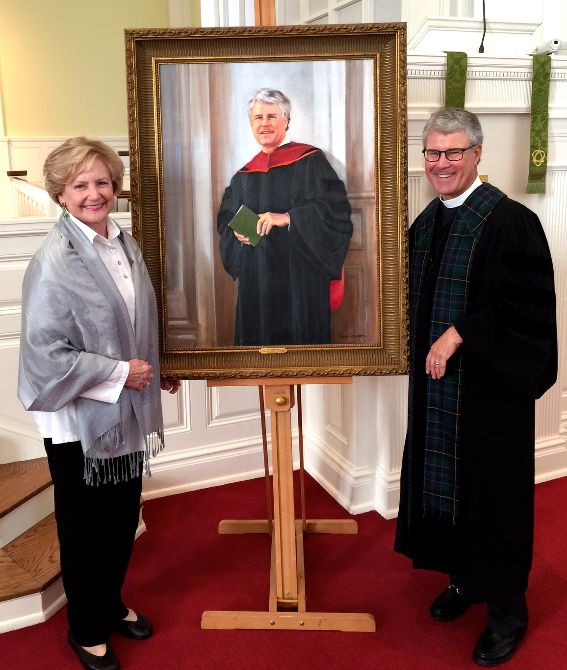 Portrait unveiling: Painter, Ann Cowden, with Pastor Todd Jones at First Presbyterian Church, Nashville, Tennessee, November of 2016