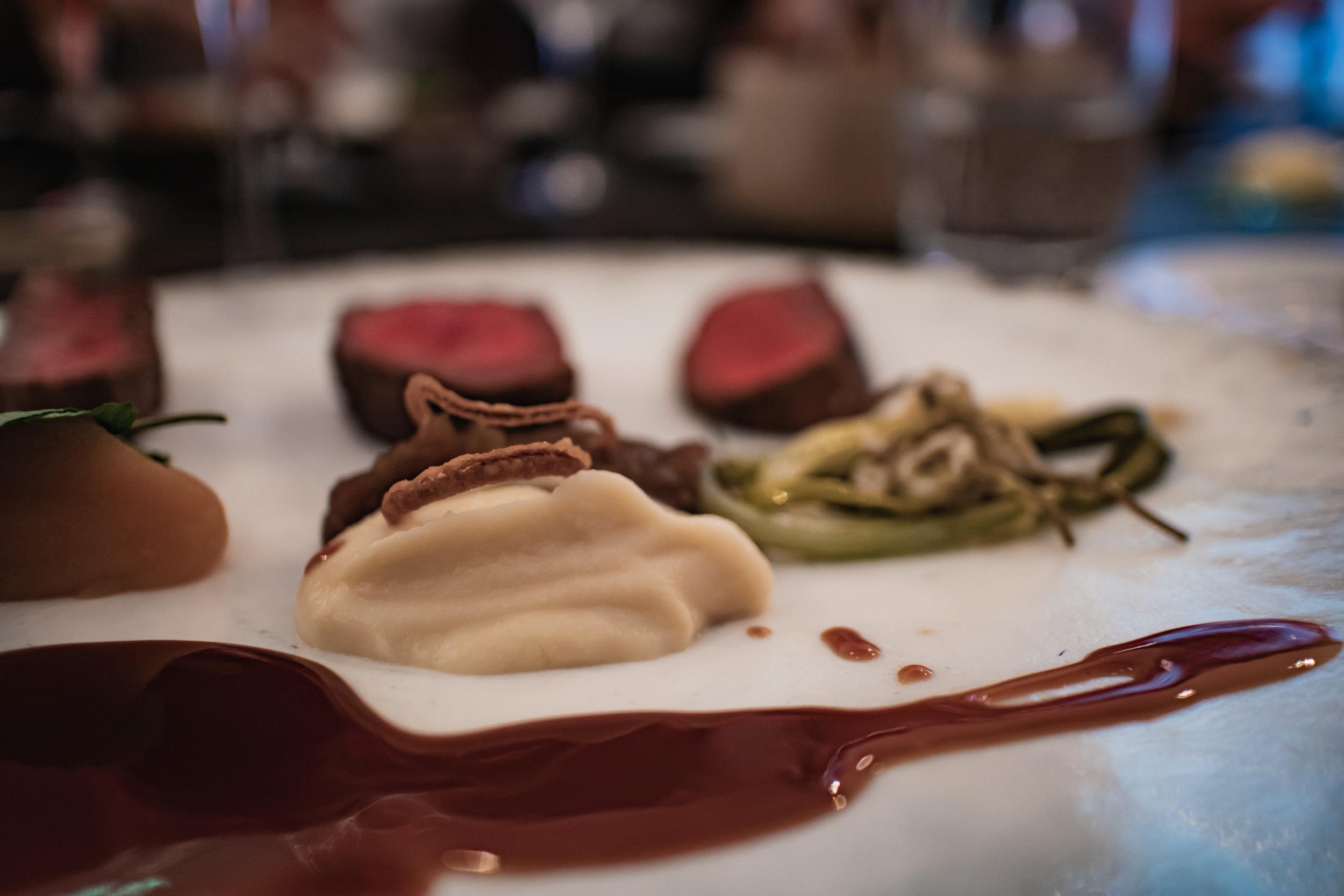 course 3: taste - Dry-aged beef, three types of garnish2014 Flor de Pingus, Domino De Pingus, Ribera Del DueroUnnatural nature