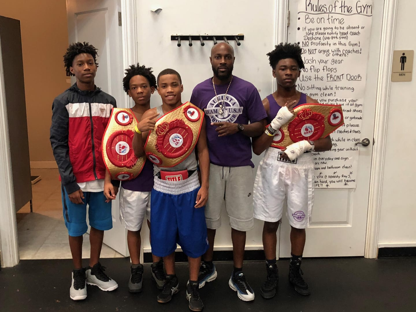 """From Left to right: Rayonta """"RJ"""" Whitfield, Jr, Denota Daniels, Jamel Robinson, Jr, Rayonta """"Ray"""" Whitfield, Sr., and Brian Blake  August 19, 2018"""