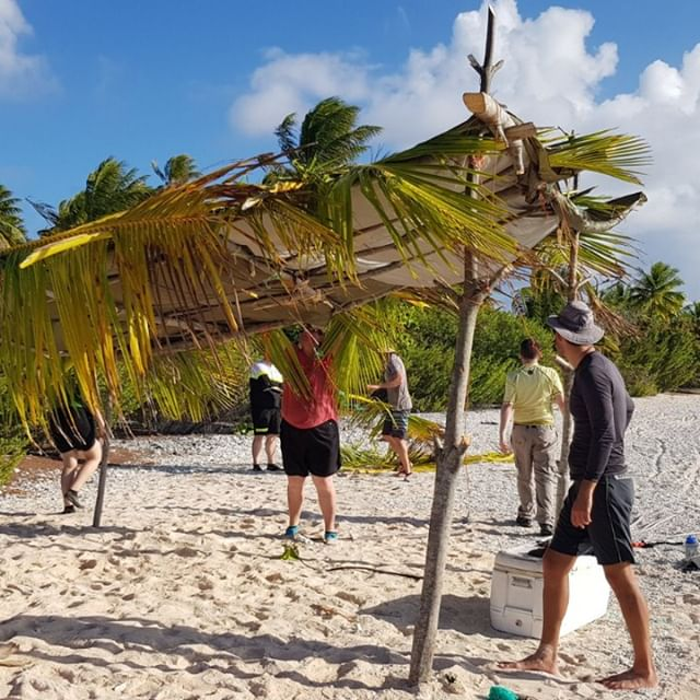 Building the main camp shelter turns a beach into a home.  #bringiton #joinustoday #startsomething #changeperceptions #dontlimityourself #outoftheordinary #desertislandsurvival