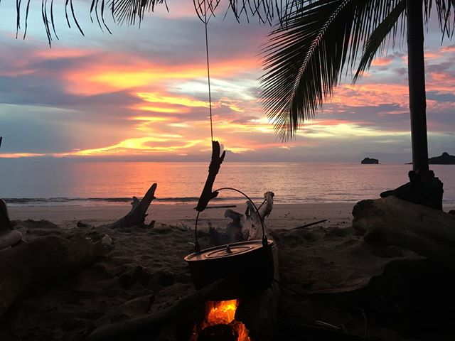 Enjoying your first meal round the campfire whilst taking in the most sunset. You would be surprised we have some pretty delicious desert island dishes on the menu.  #islandtradition #desertislandfood #experiencetoday #livenow #ambition #recipeforsuccess #desertislandsurvival
