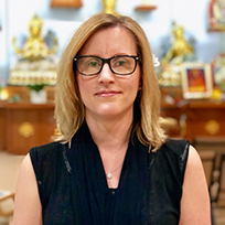 Jacqueline McKethan    Jacqueline began studying meditation and Buddhism in 2005 at Kadampa Meditation Center North Carolina, and continued her studies at Kadampa Meditation Center Texas when she moved to Dallas in 2008. She is currently enrolled in the Teacher Training Program and regularly teaches classes in Dallas. During the day, she is an Information Security Specialist, having previously been a professional musician  .