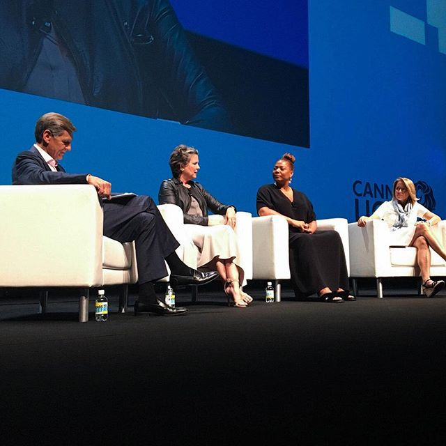 """@madonnabadger speaks at @cannes_lions on stage with Marc Pritchard, @queenlatifah and @katiecouric on dispelling gender myths in the creative industry: """"If we believe there aren't enough women in the pipeline, then there won't be enough. There are plenty of women."""" #cannes2018 #agentsofchange"""