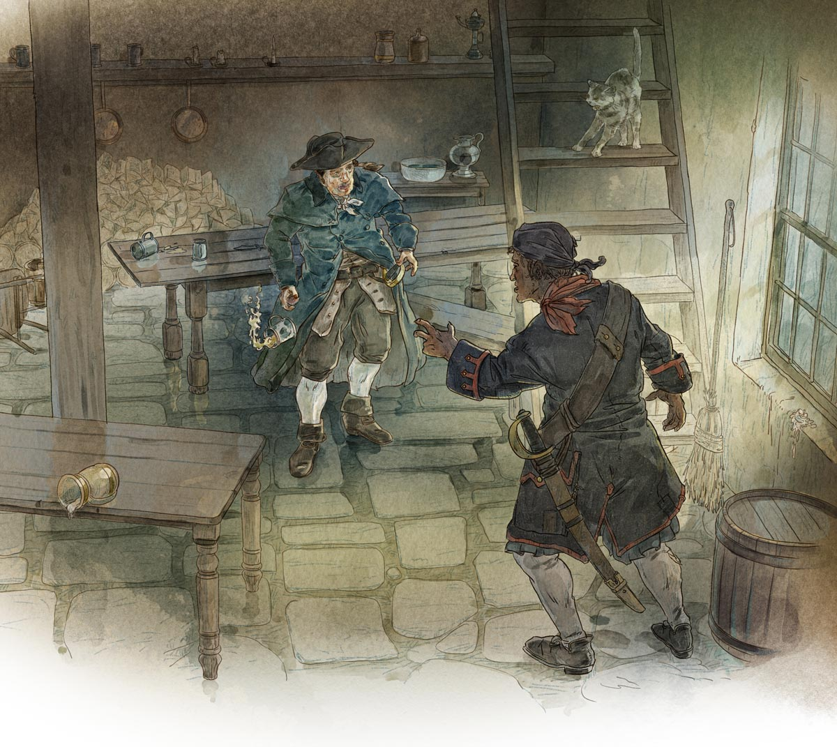 Black Dog finds Billy Bones at the Admiral Benbow Inn