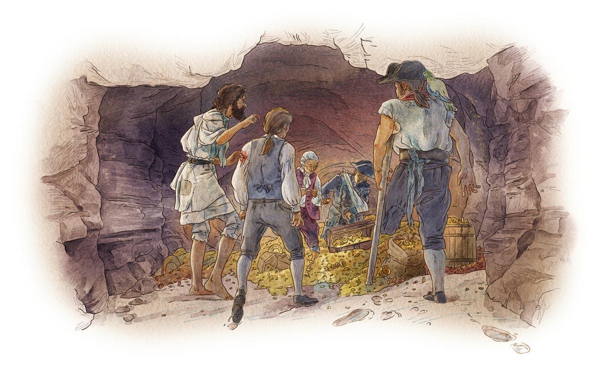 Ben Gunn leads them to treasure