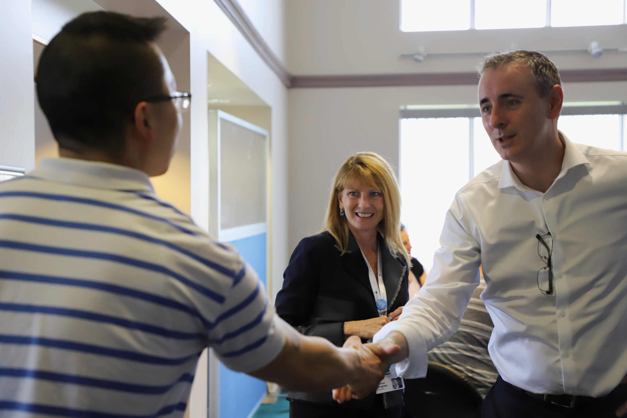 U.S. Rep. Brian Fitzpatrick, right, who represents Pennsylvania District 1, recently stopped by Success Rehabilitation's Outpatient Program in Bucks County, Pennsylvania.