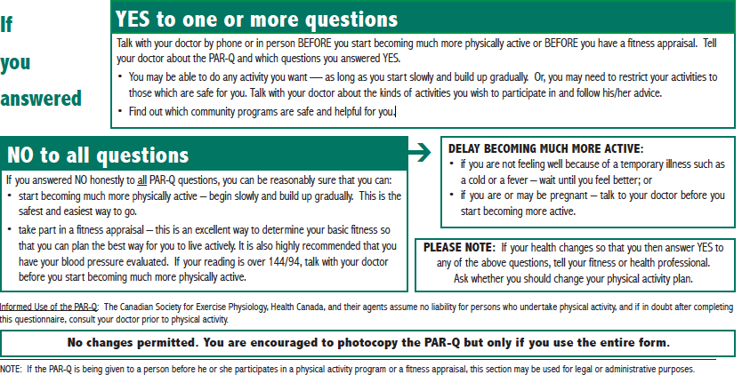 IMPORTANT!! If you answered YES to any questions on the PAR-Q Please follow the instructions above before proceeding with your Ski Fit 8 Week Program Purchase