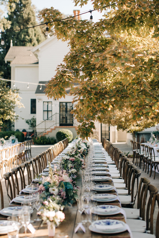 Outdoor Wedding Reception September | Communal Farm Tables | Wedding Tablescape