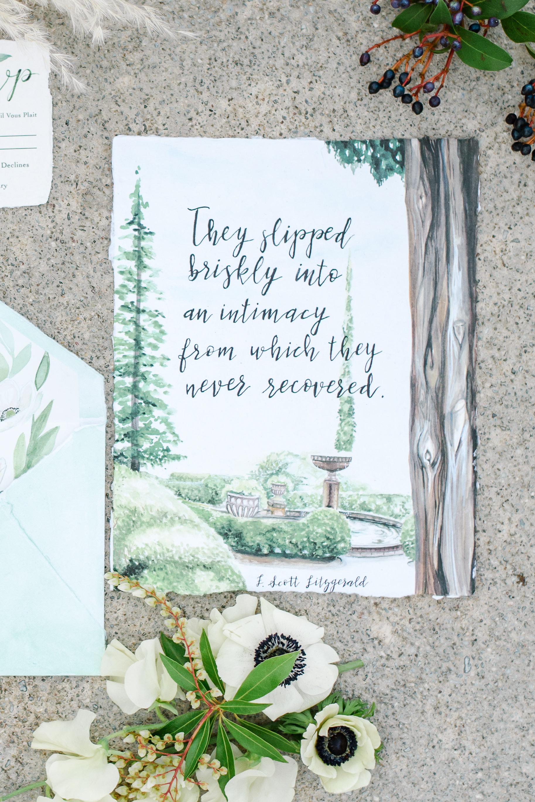 Custom Watercolor Wedding Invitation | Wedding Photography Flat Lay