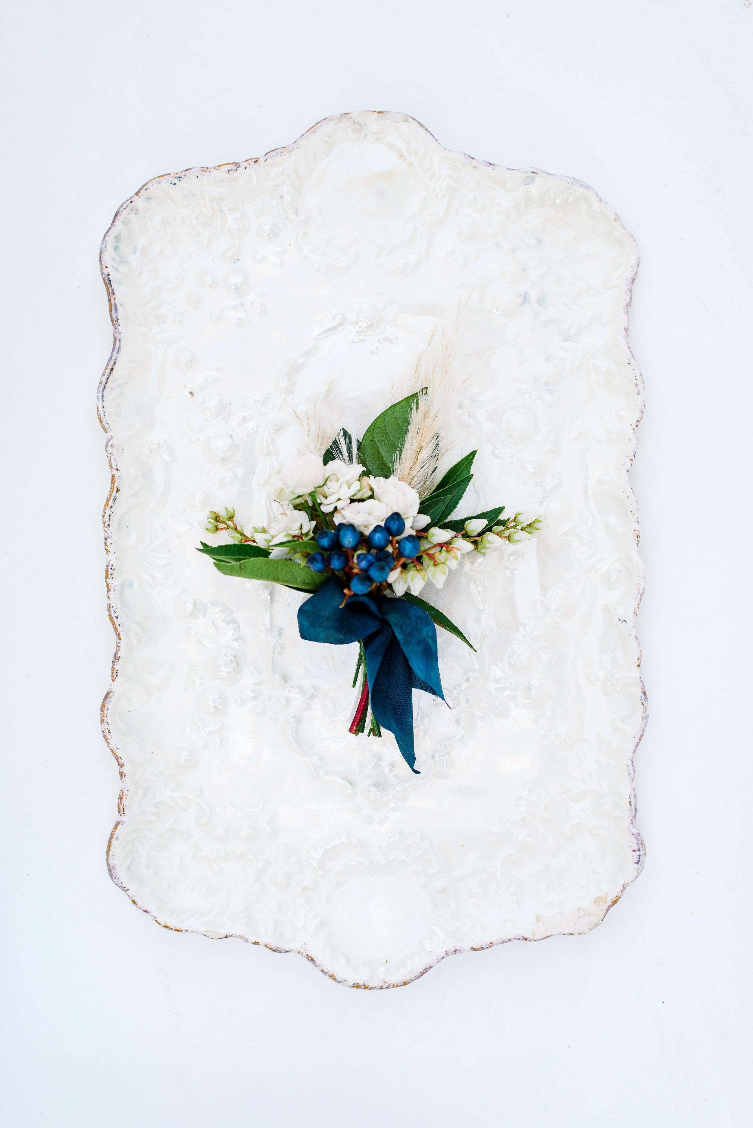 Navy Blue Boutonnière