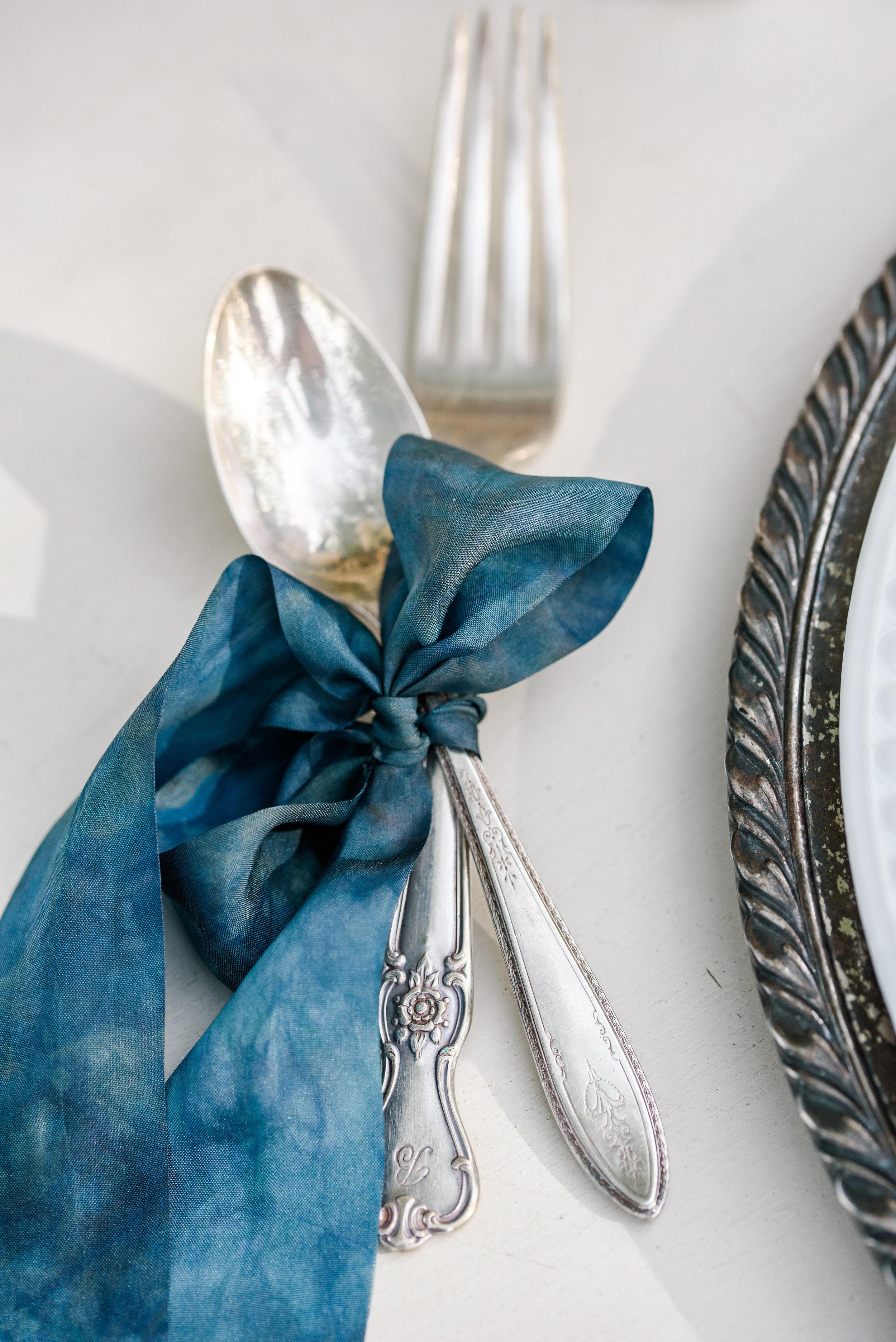 Blue Silk Ribbon | Wedding Table Setting