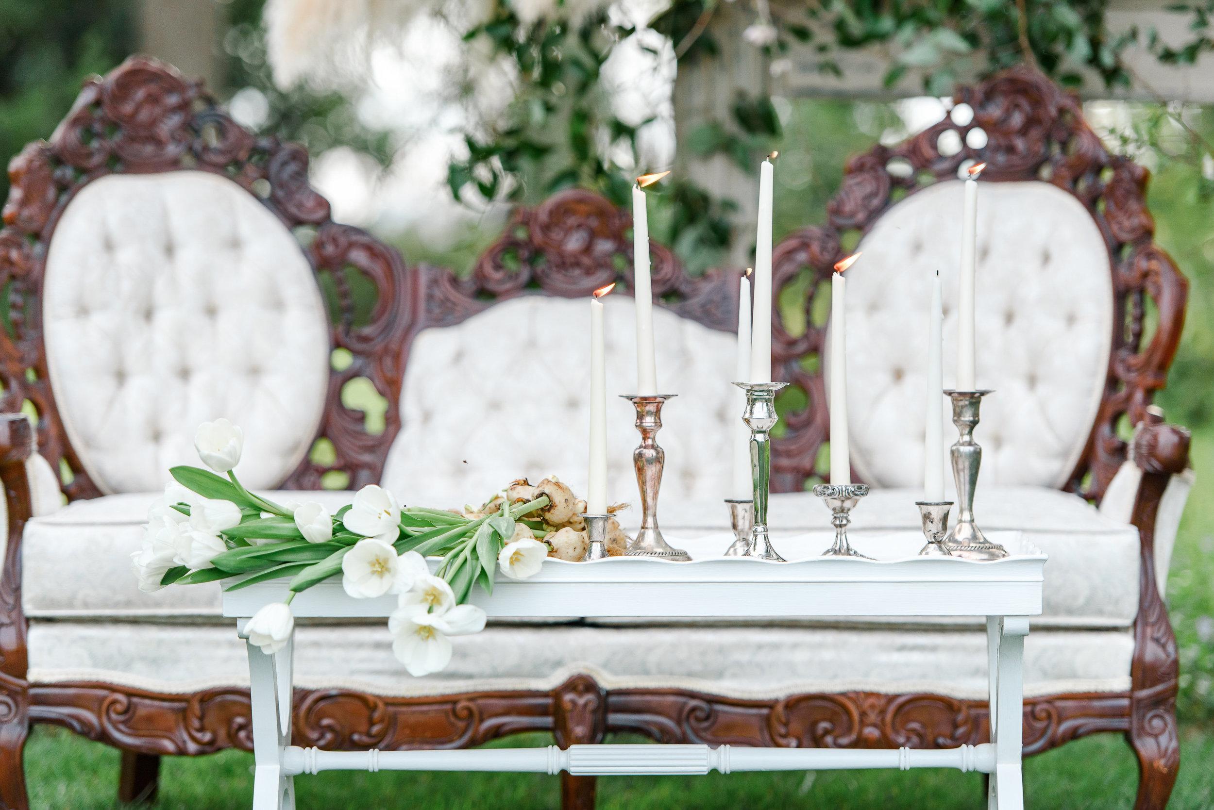 Garden Wedding Inspiration | Wedding Seating | Wedding Lounge Seating | White Tulips