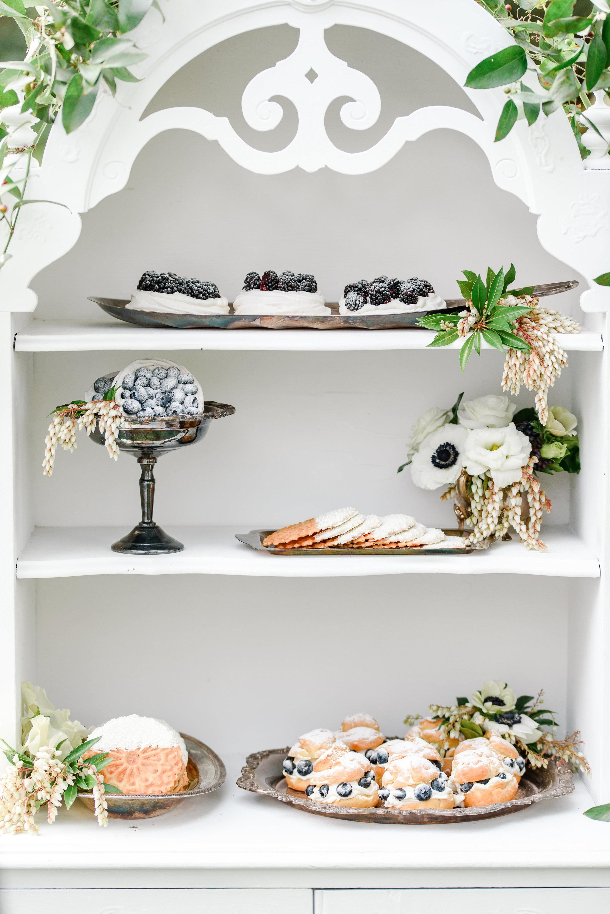 Garden Wedding Inspiration | Wedding Dessert Bar | Blueberry Desserts