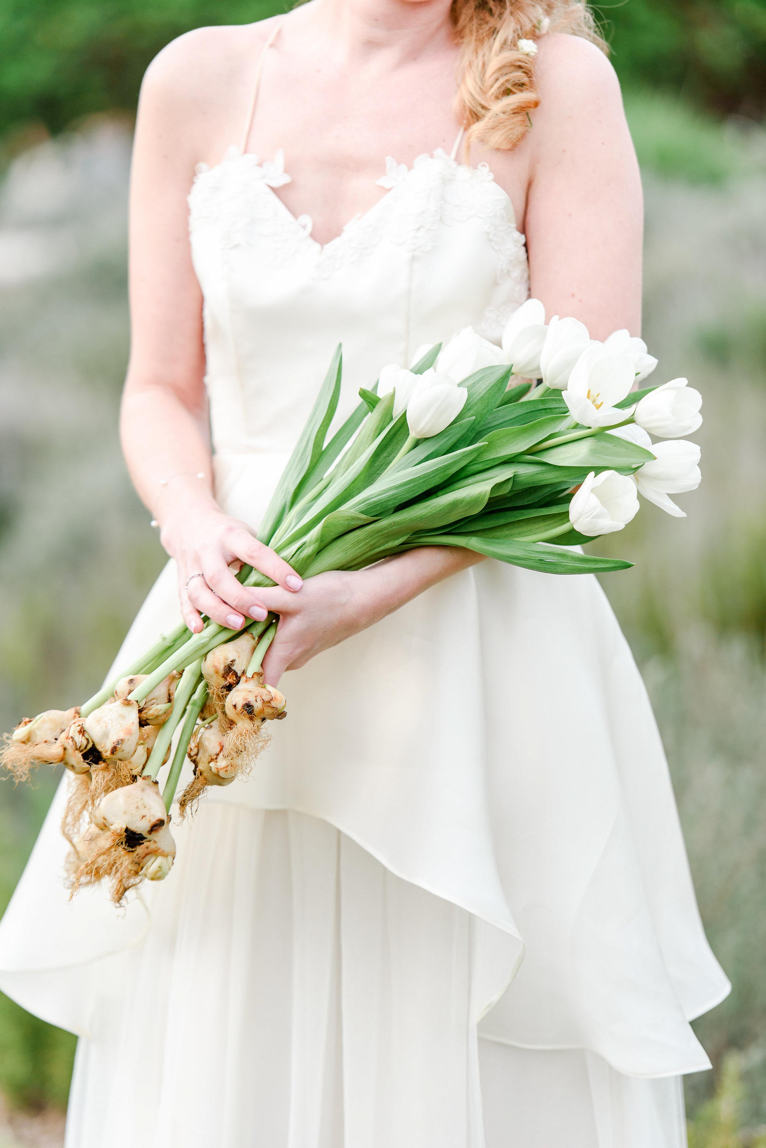 Garden Wedding Inspiration | White Tulips | Tulip Bouquet | Bridal Bouquet
