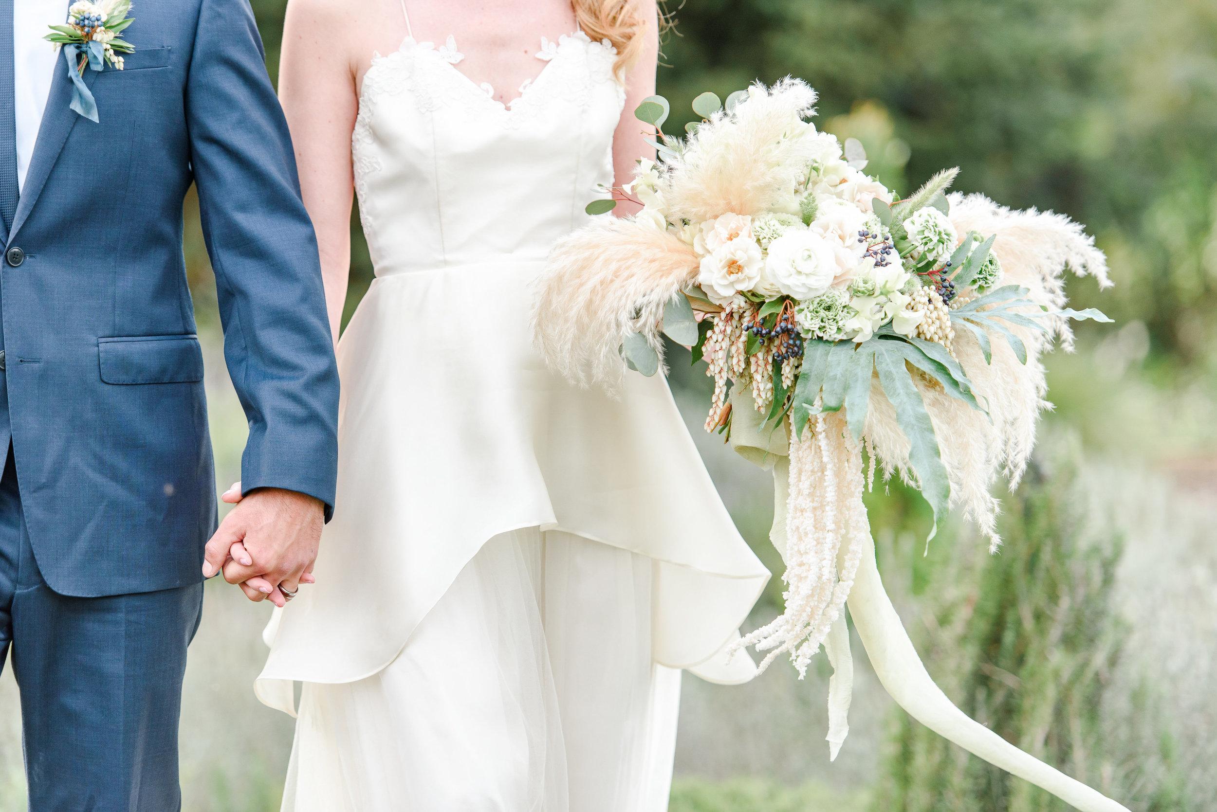 Garden Wedding Inspiration | Bridal Bouquet | Unique Bouquet | Pampas Grass