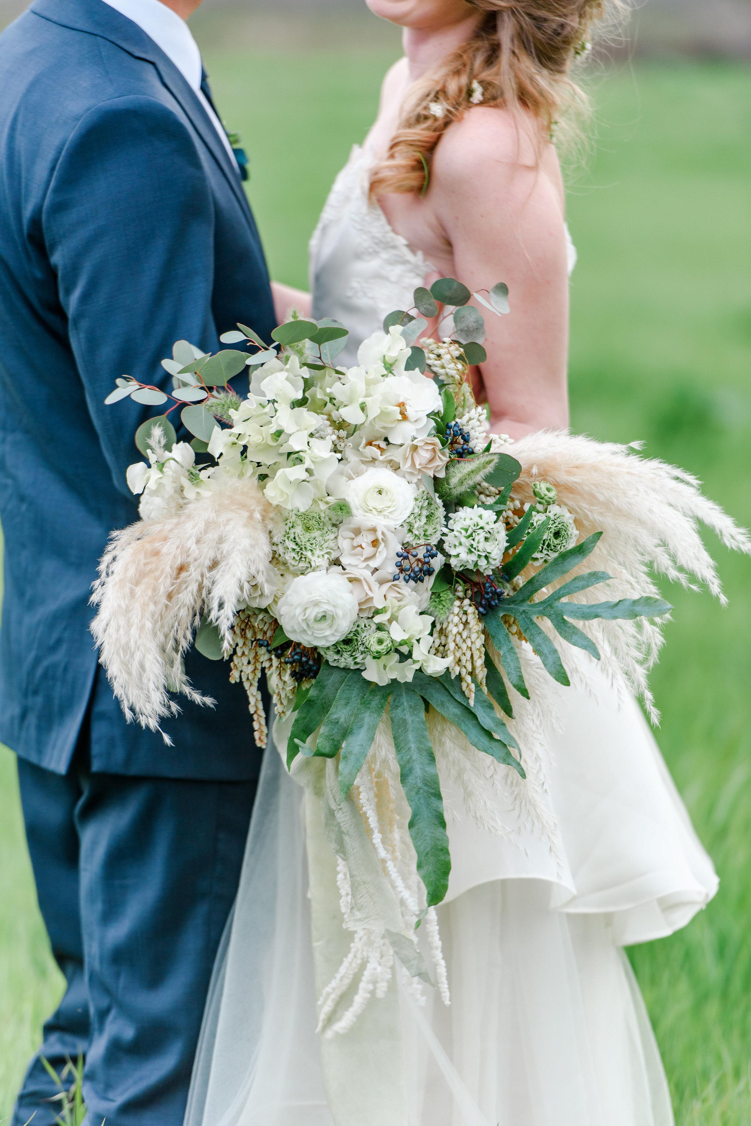 Neutral Bridal Bouquet | Unique Bridal Bouquet | Pampas Grass