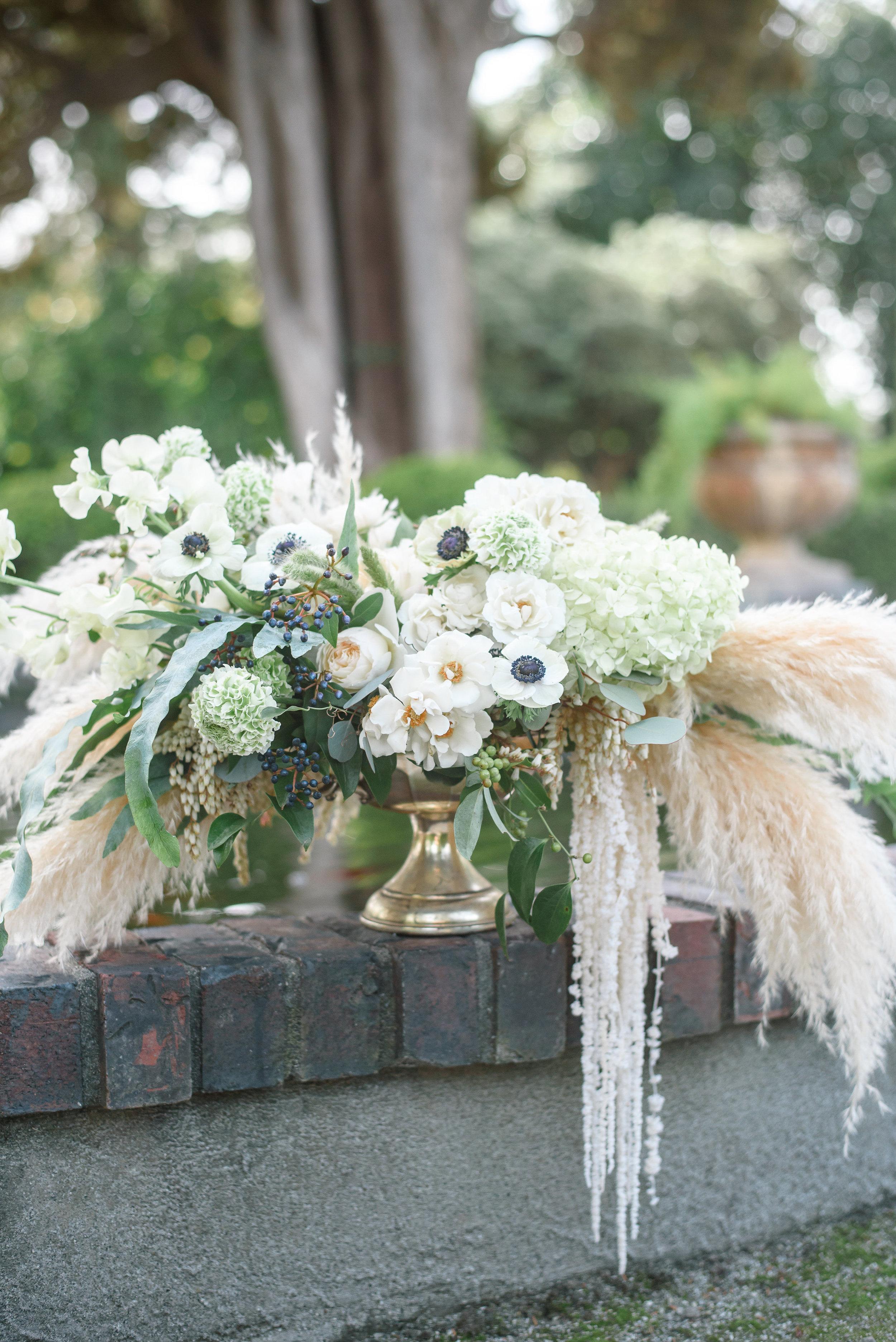 Unique Wedding Florals | Neutral Wedding Flowers | Pampas Grass | Anemones