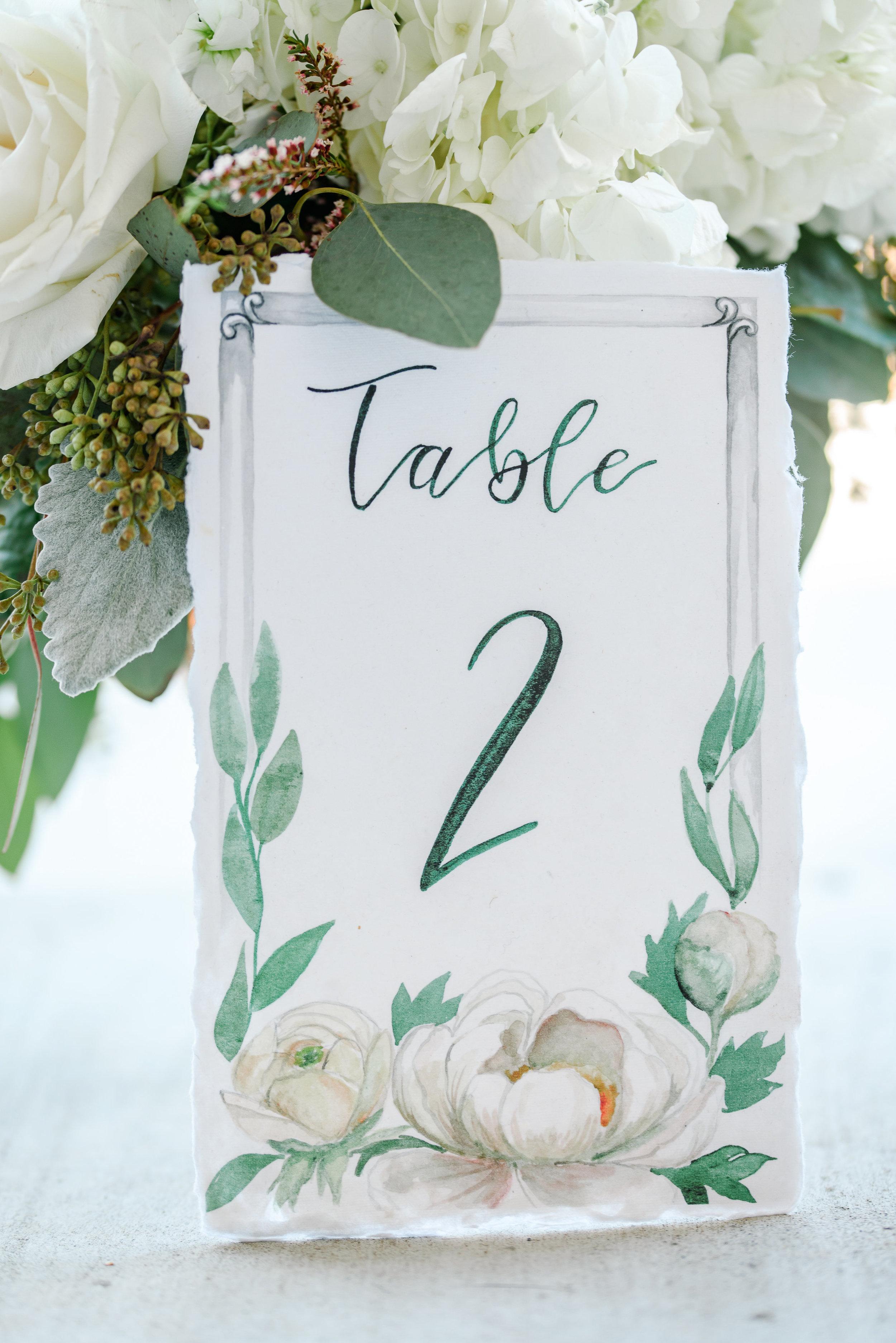 Custom Watercolor Table Numbers