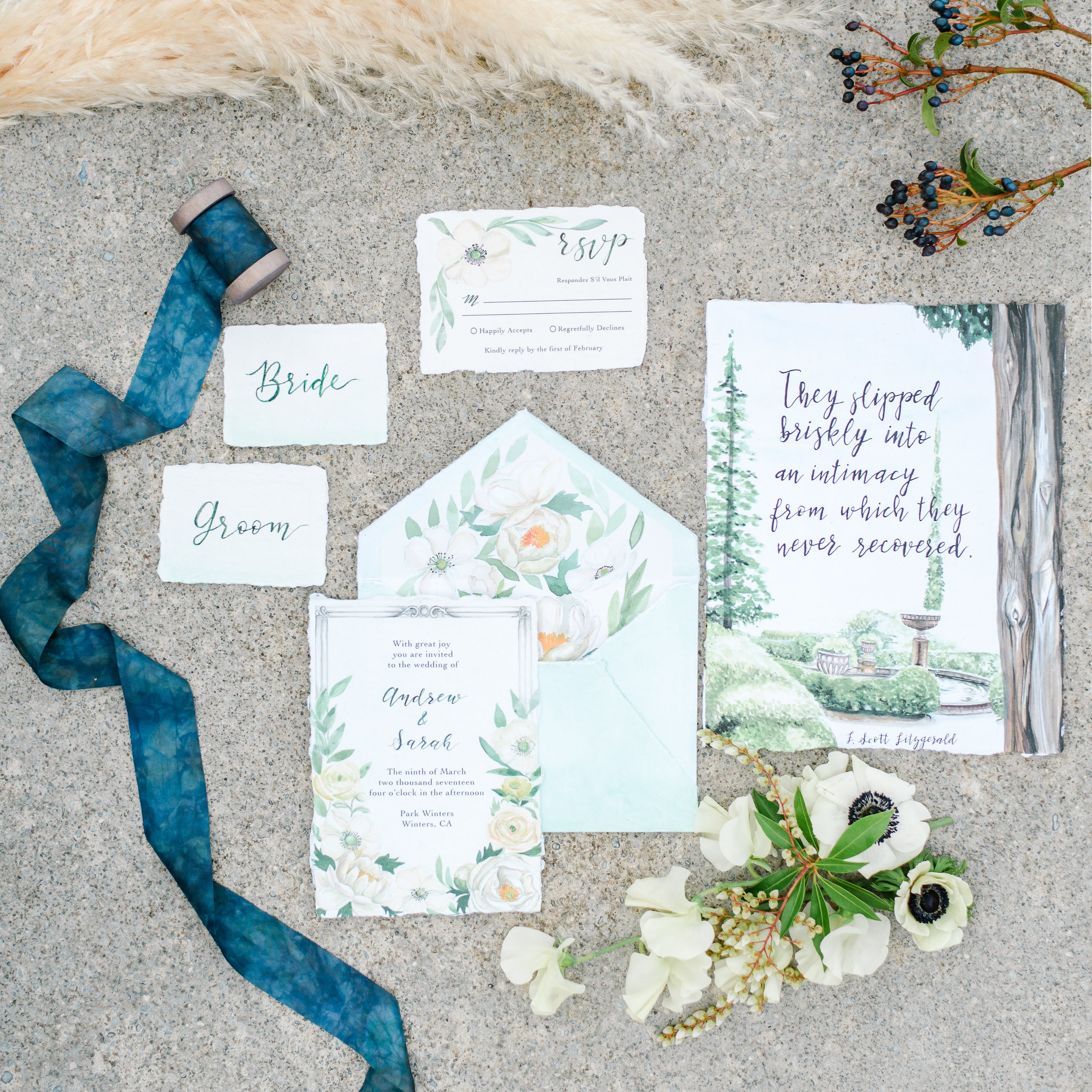 Custom Watercolor Wedding Invitation | Blue Silk Ribbon