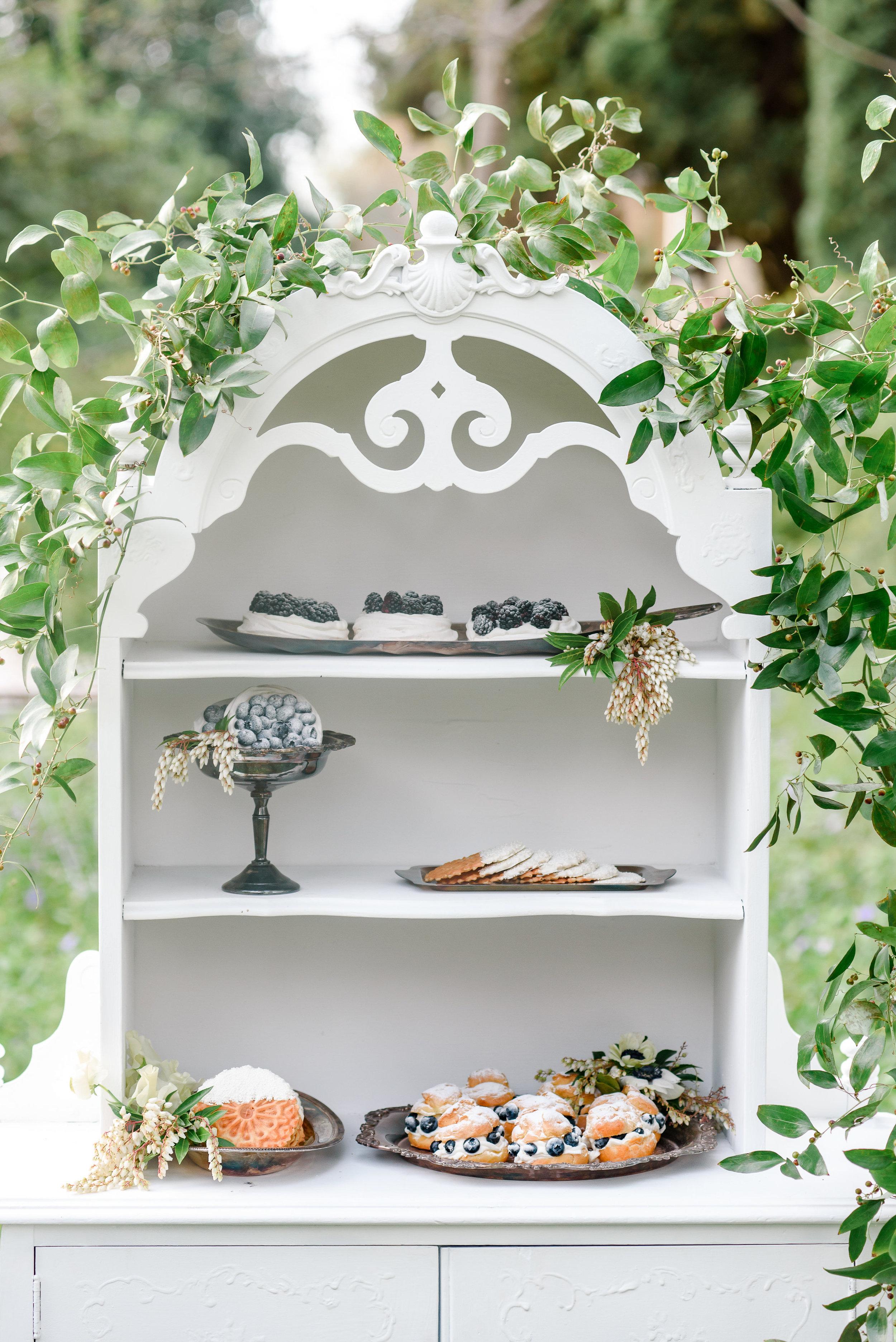 Wedding Dessert Bar | Garden Wedding Inspiration | Vintage Wedding Furniture