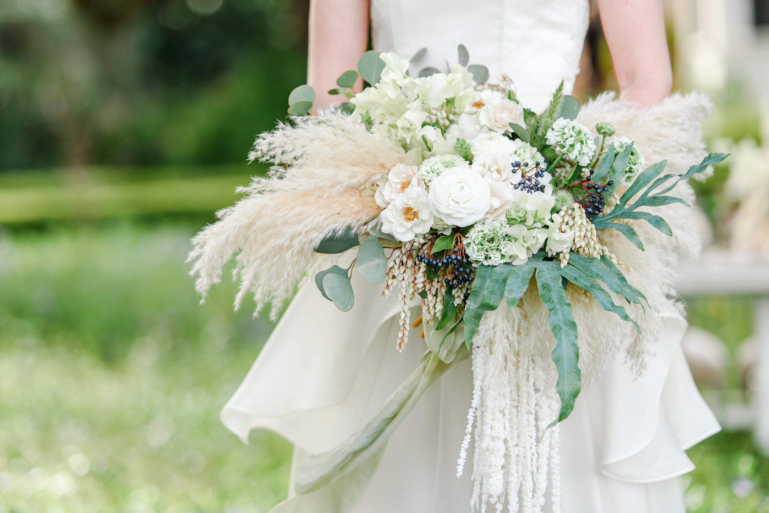 Unique Bridal Bouquet | Neutral Bridal Bouquet | Wedding Flowers | Pampas Grass