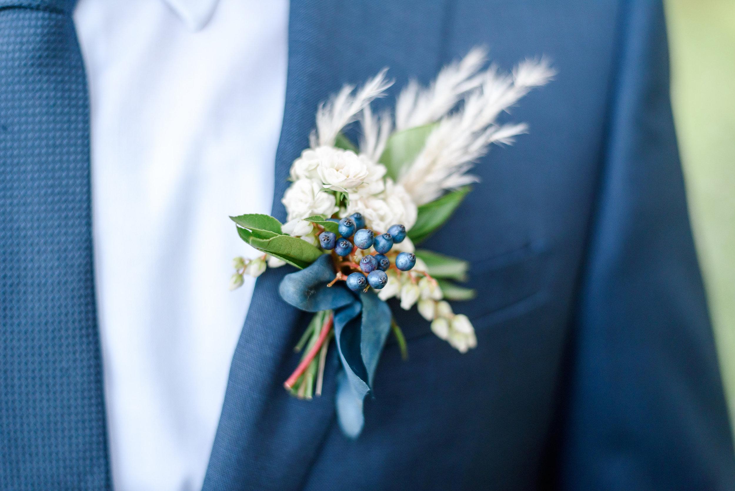 Blue Suit Groom | Blue Boutonniere