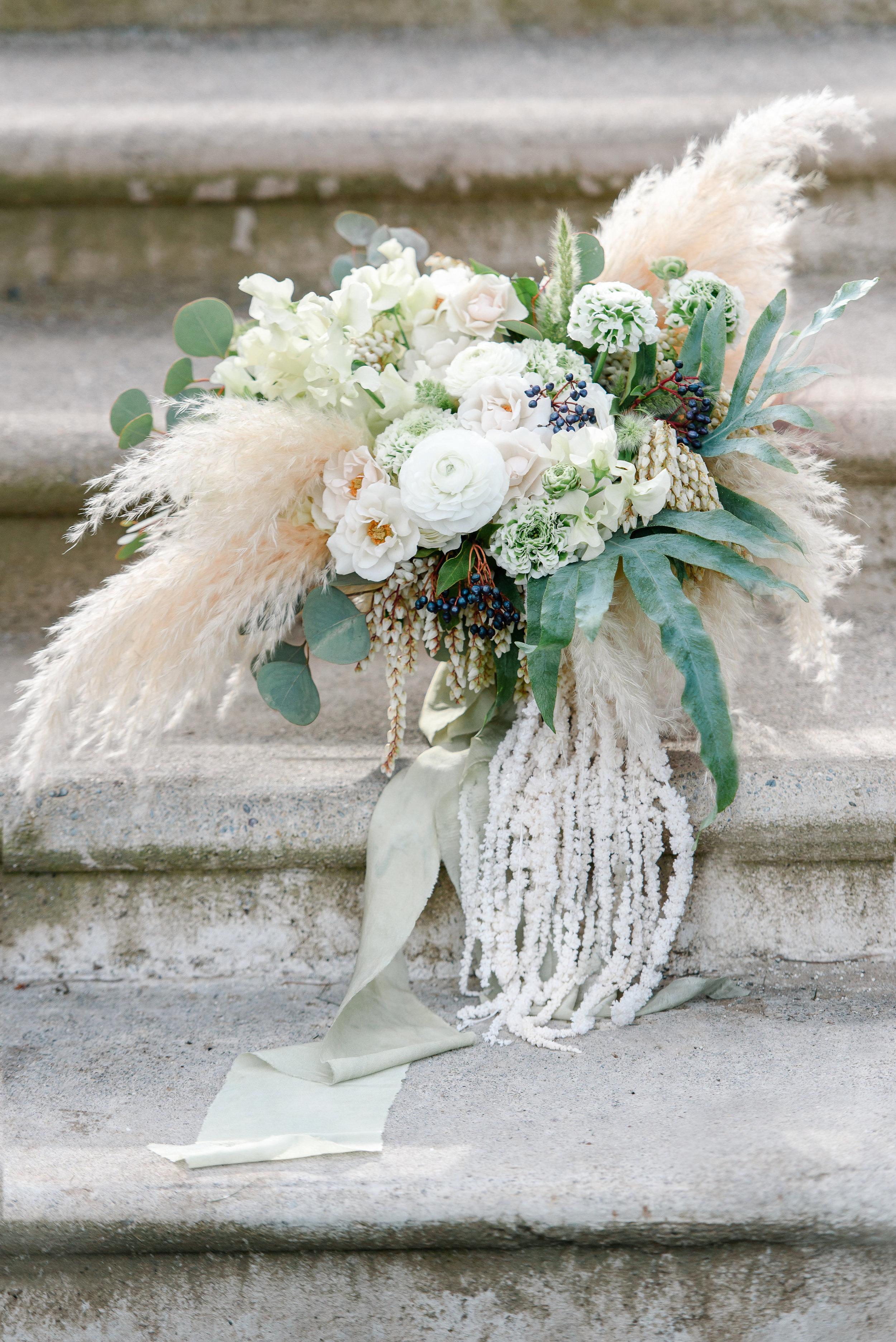 Unique Bridal Bouquet | White Bridal Bouquet | Neutral Bridal Bouquet | Pampas Grass