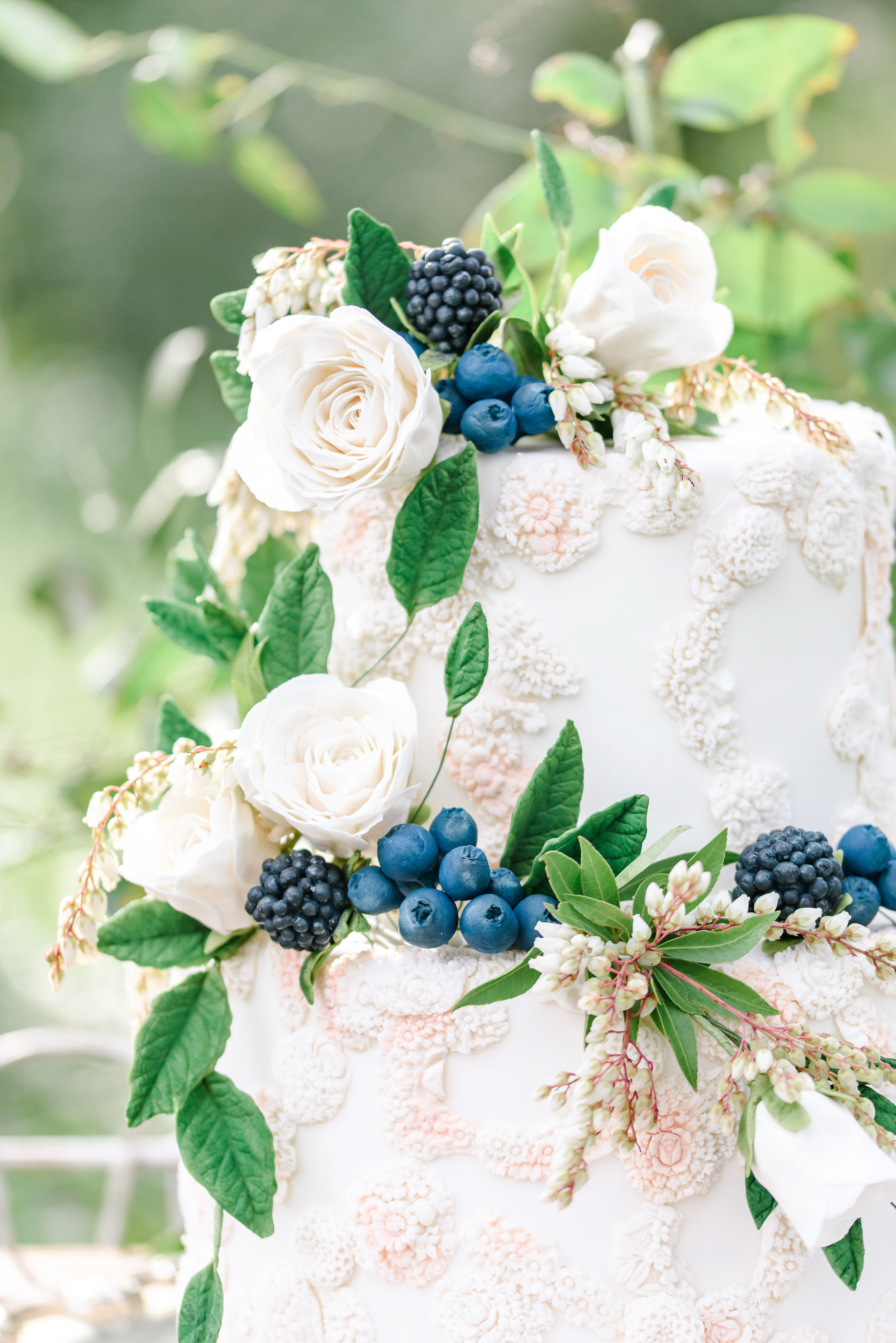 Fresh Flower Wedding Cake | Fresh Fruit Wedding Cake | Pops of Blue