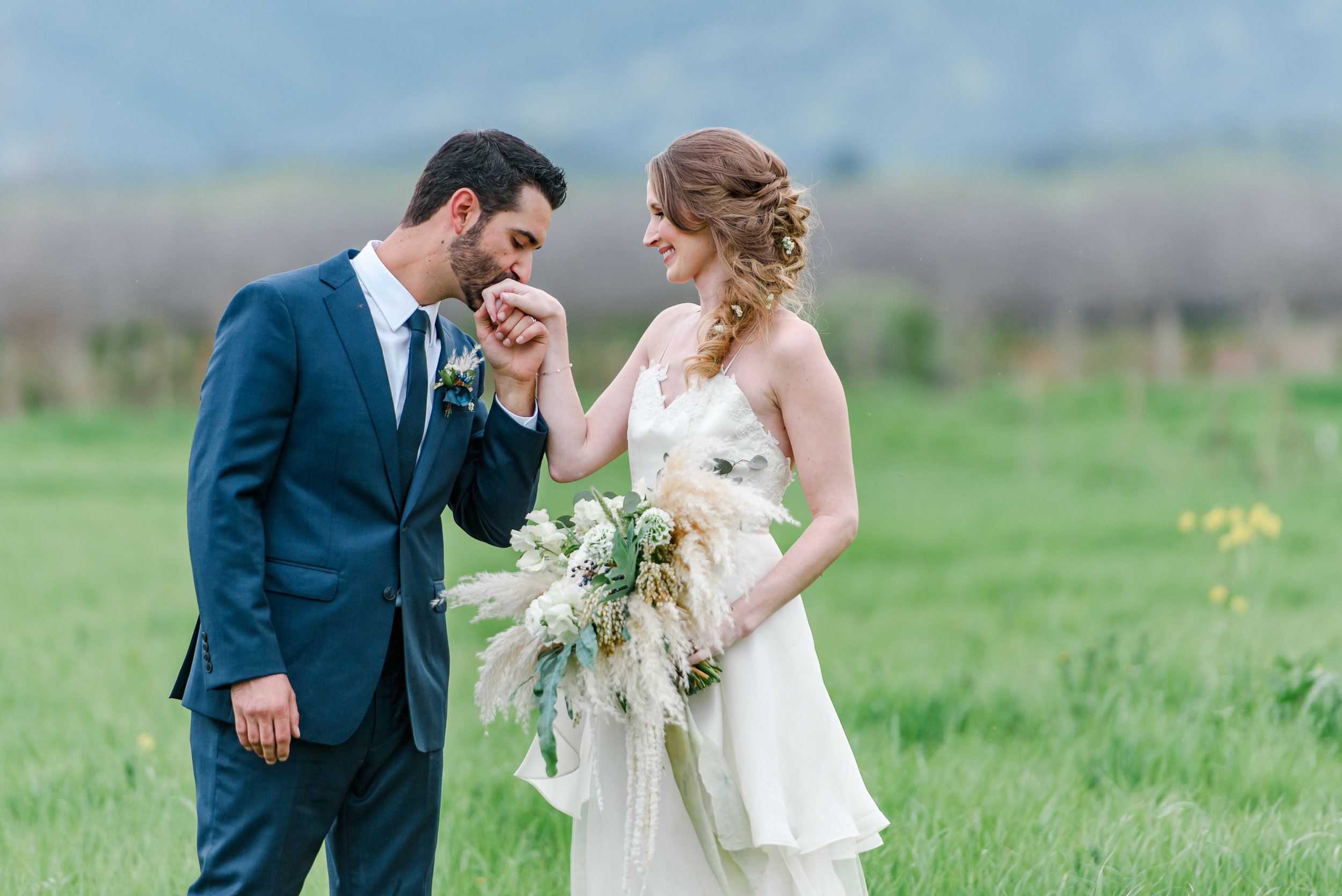 Bride and Groom Photos | Bridal Bouquet | Blue Wedding Suit
