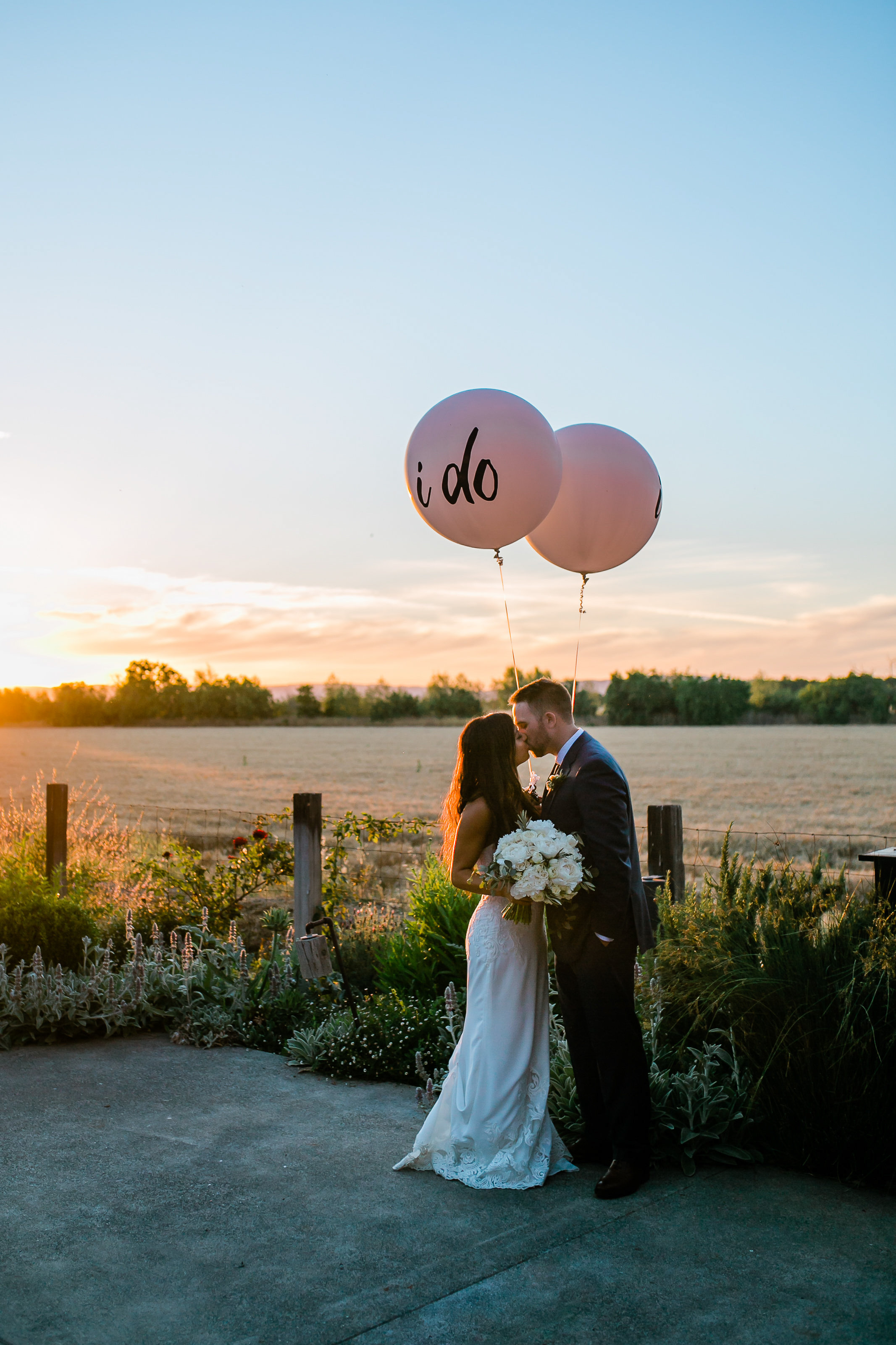 Park Winters Summer Wedding | Country Wedding | Farm Wedding | Bride and Groom Portrait | I Do balloons