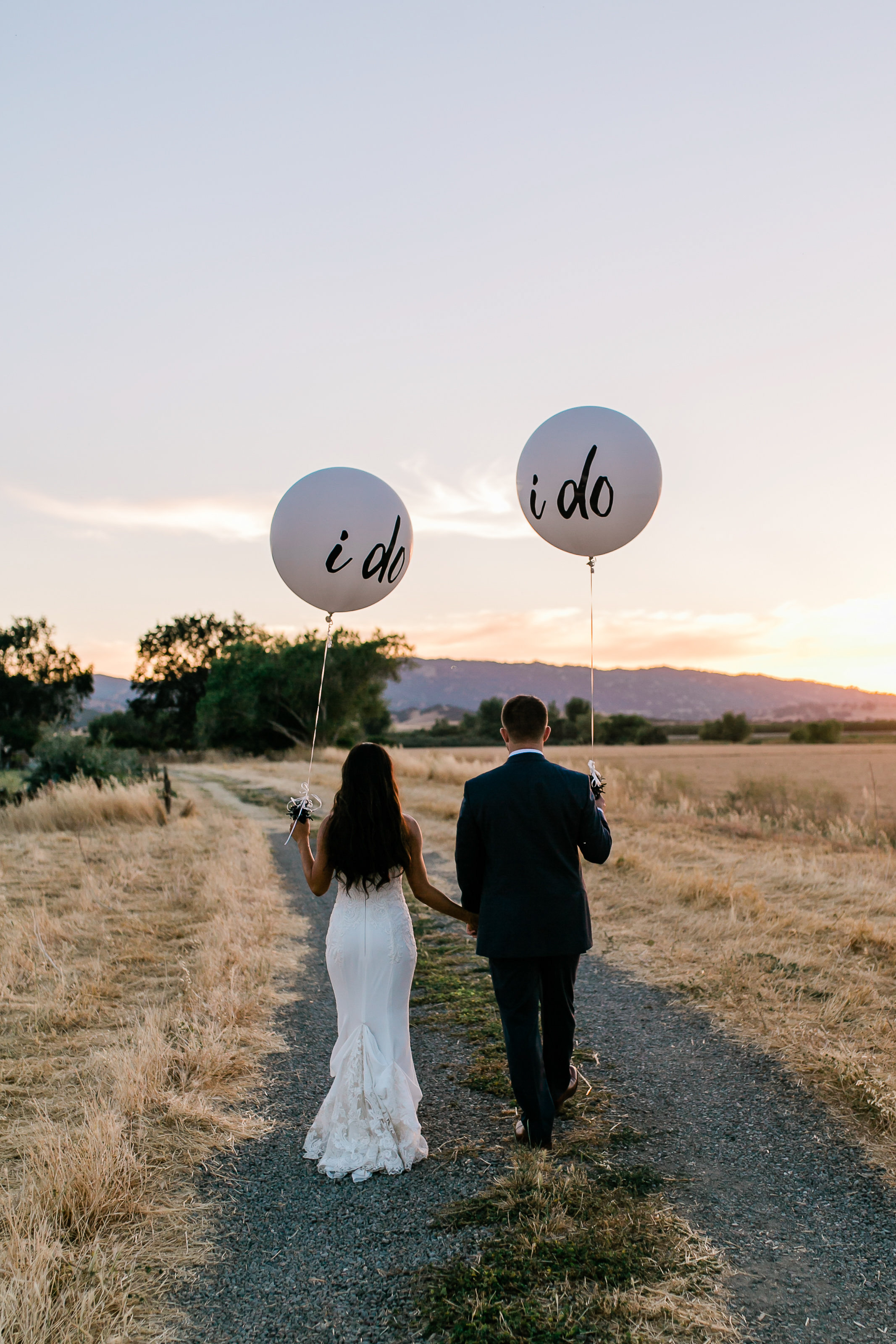 Park Winters Summer Wedding | Country Wedding | Farm Wedding | Bride and Groom Portrait | I Do balloons