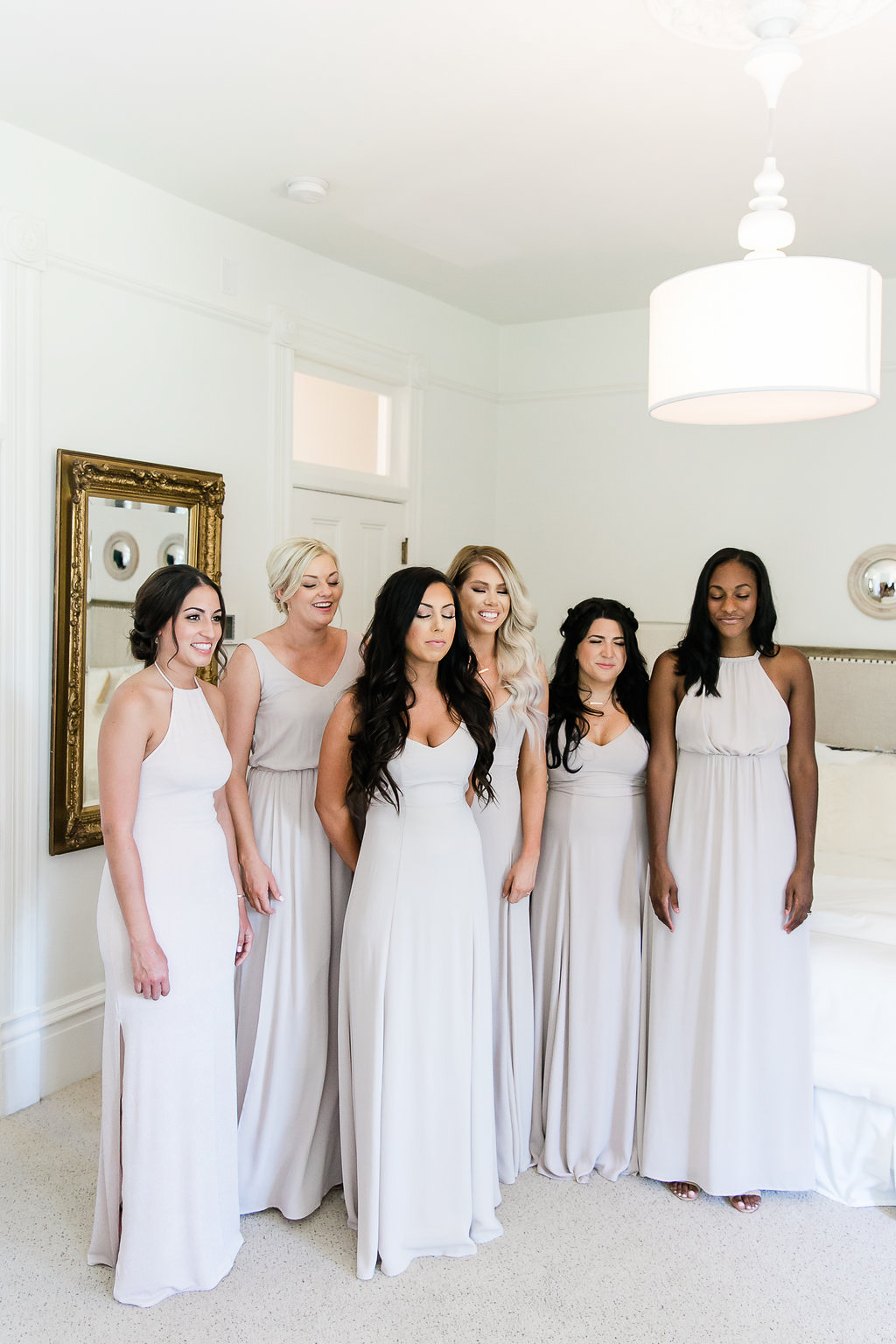 Park Winters Wedding | Bridesmaids First Look | Nude Bridesmaids Dress