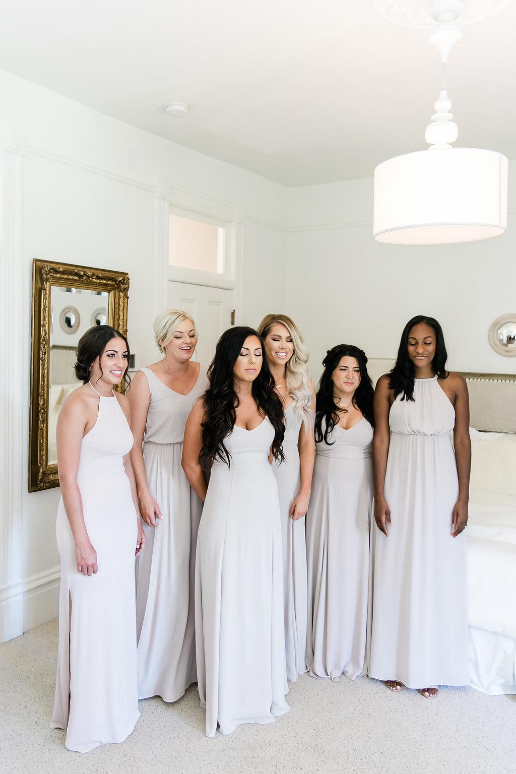 Park Winters Wedding | Bridesmaids First Look | Nude Bridesmaids Dress