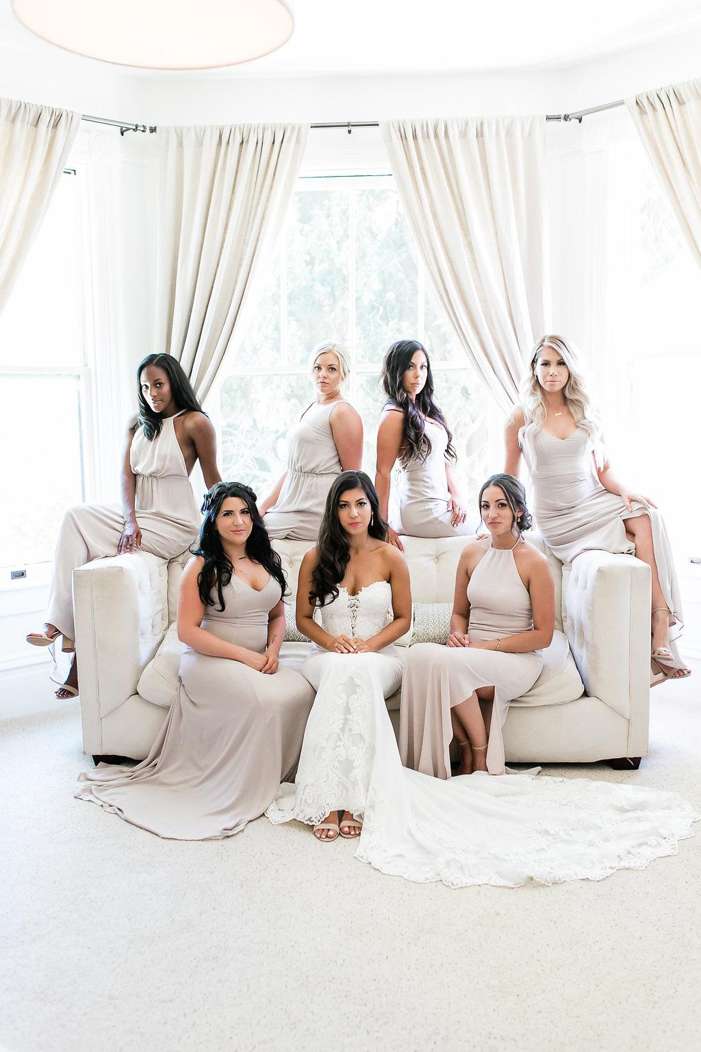 Park Winters Wedding | Bridesmaids Photo | Wedding Party Photo | Nude Bridesmaids Dress