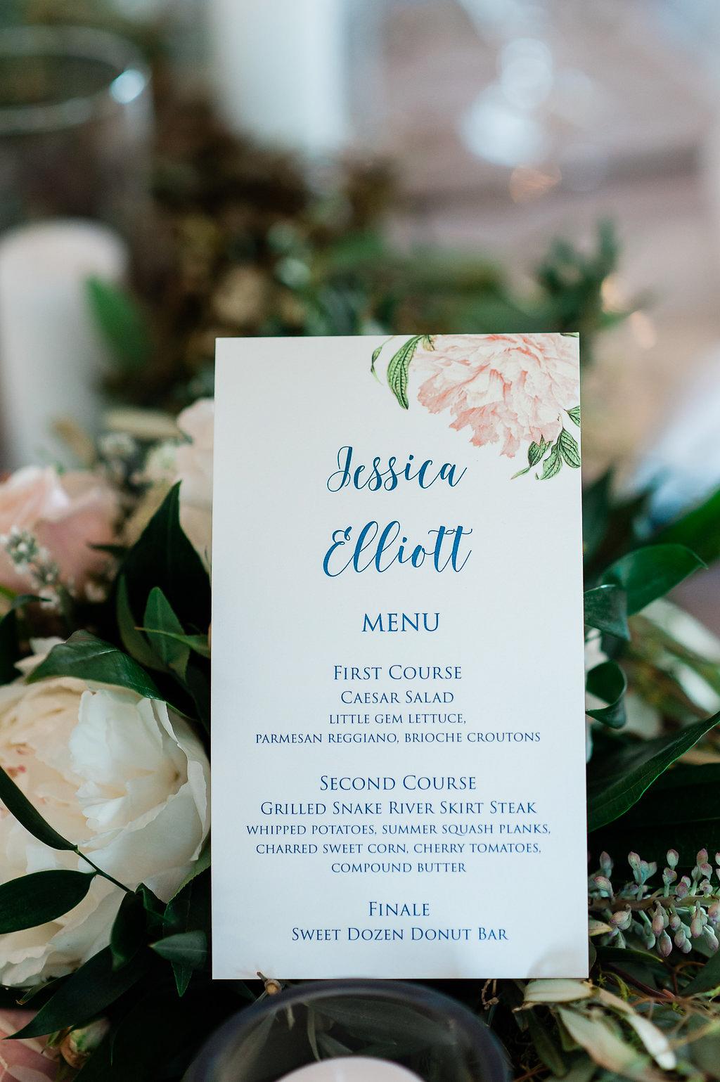 Park Winters Summer Wedding | Wedding Menu Design