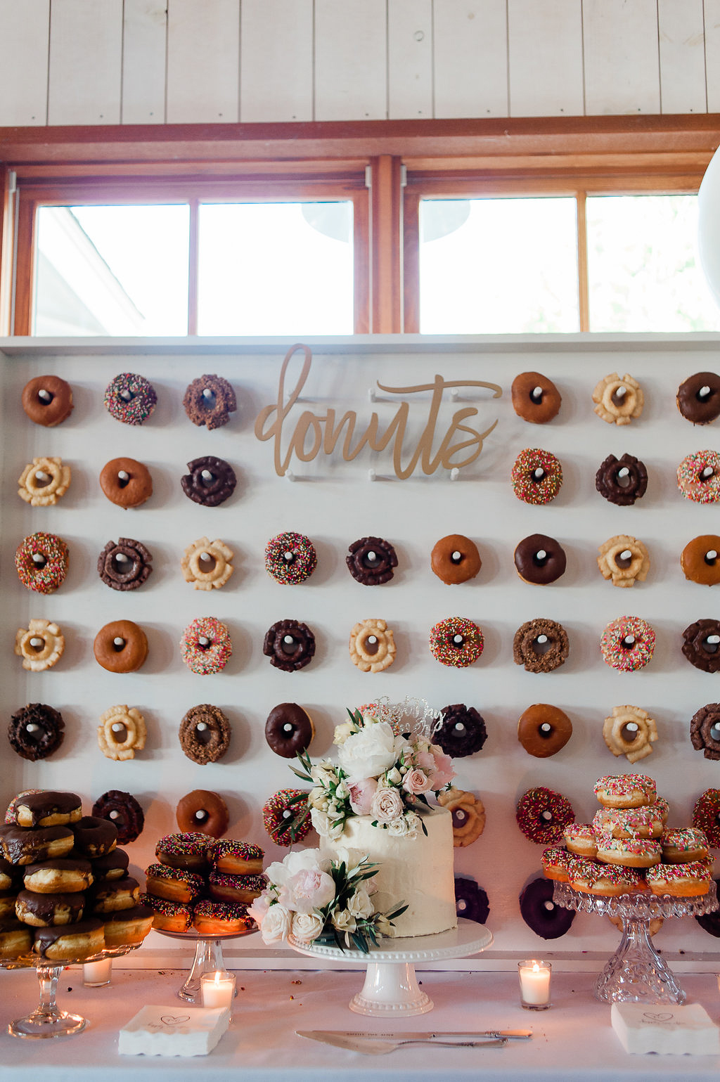 Park Winters Summer Wedding | Wedding Dessert | Wedding Donuts | Donut Wall | Unique Wedding Dessert Ideas | Two-tier wedding cake