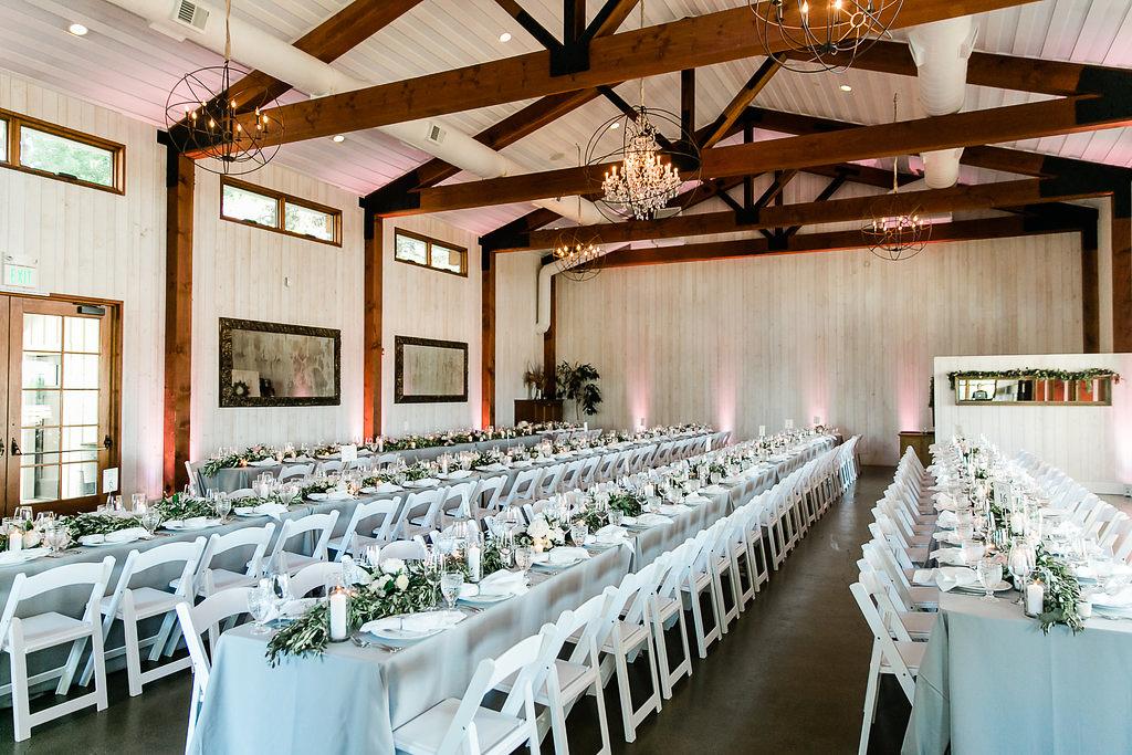 Park Winters Summer Wedding | Indoor Reception | Barn Wedding | Neutral Wedding | Wedding Table | Grey and white wedding | Wedding Floral Runner