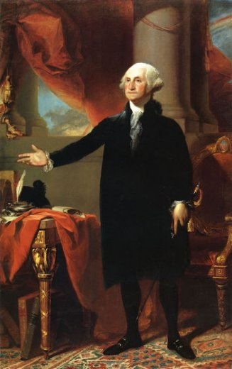 An oil painting of Washington by Gilbert Stuart.