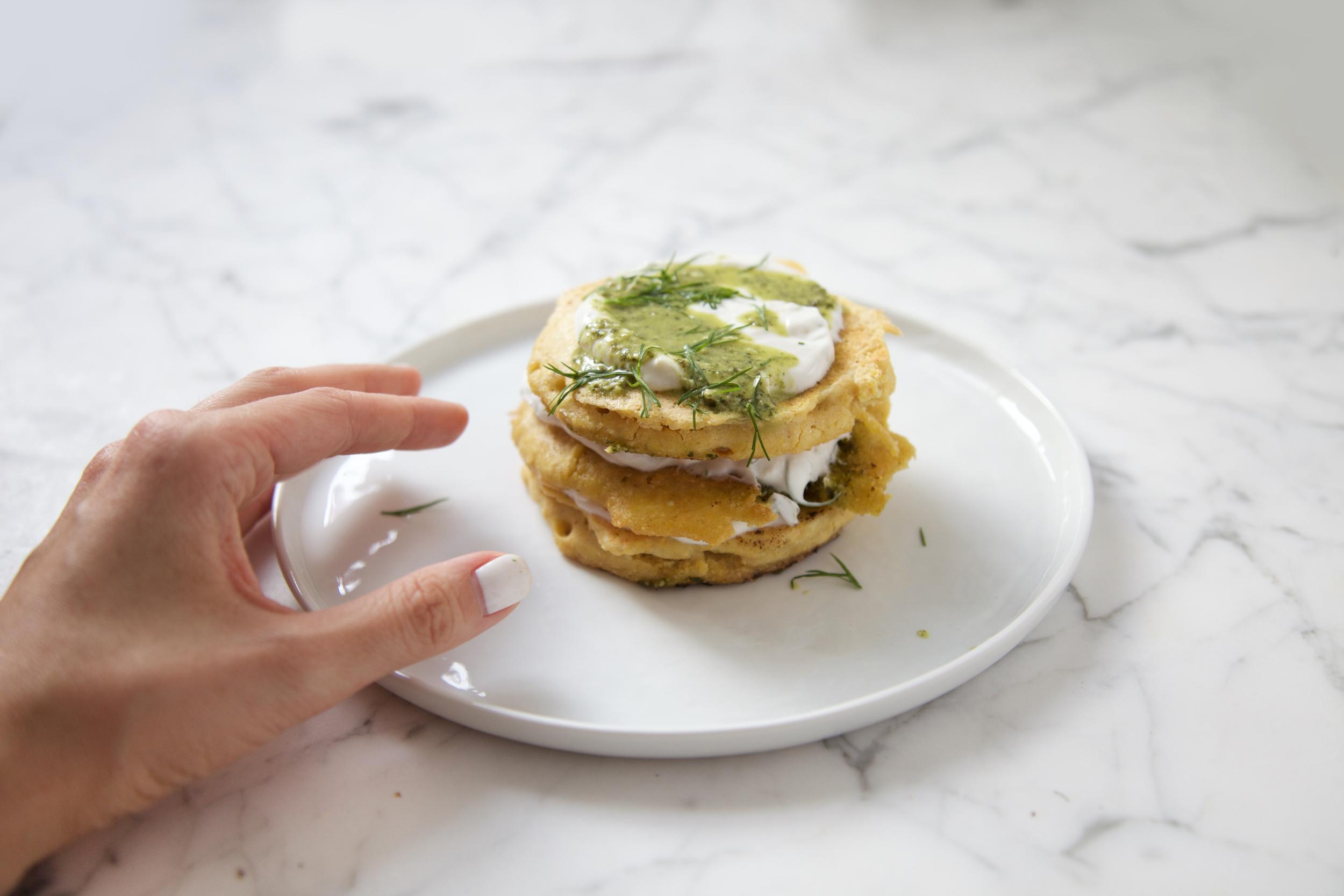 Savory Corn Pancakes with lemon yogurt and roselle pesto