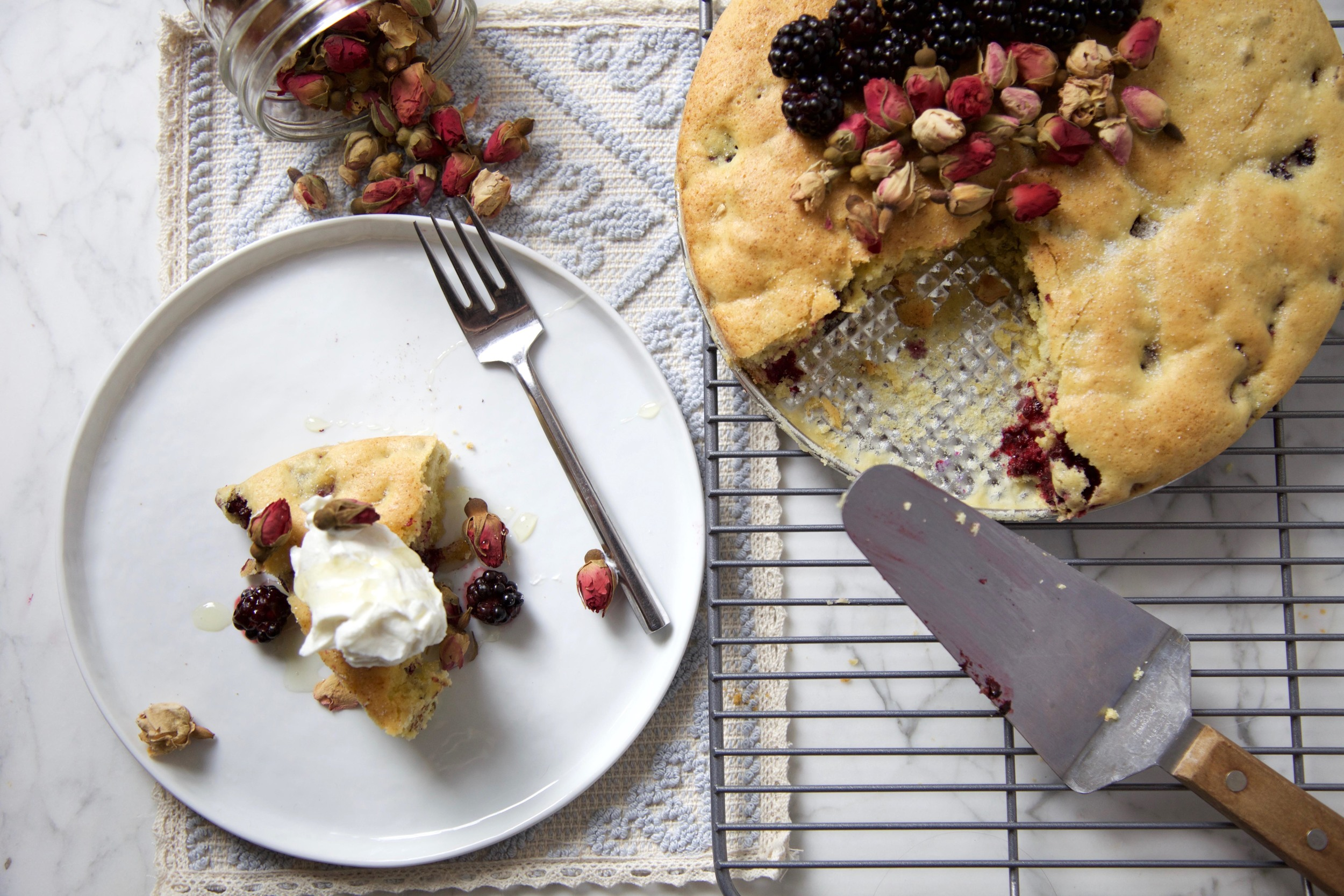 Olive oil cake with Rose, Blackberries and pistachios