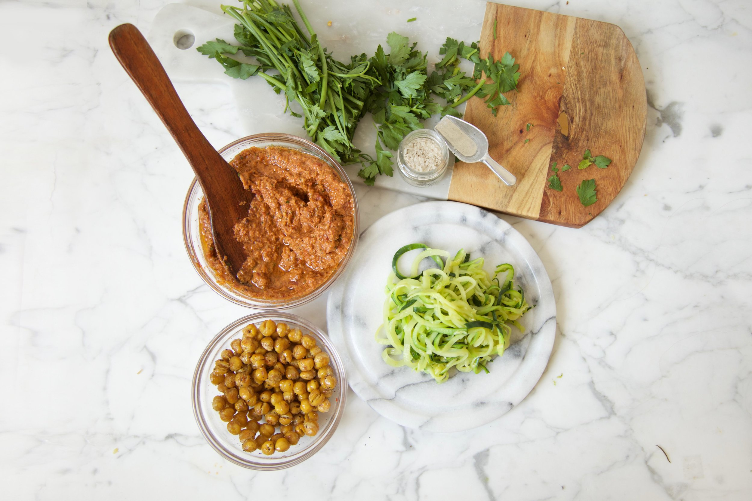 Zoodles with Romesco